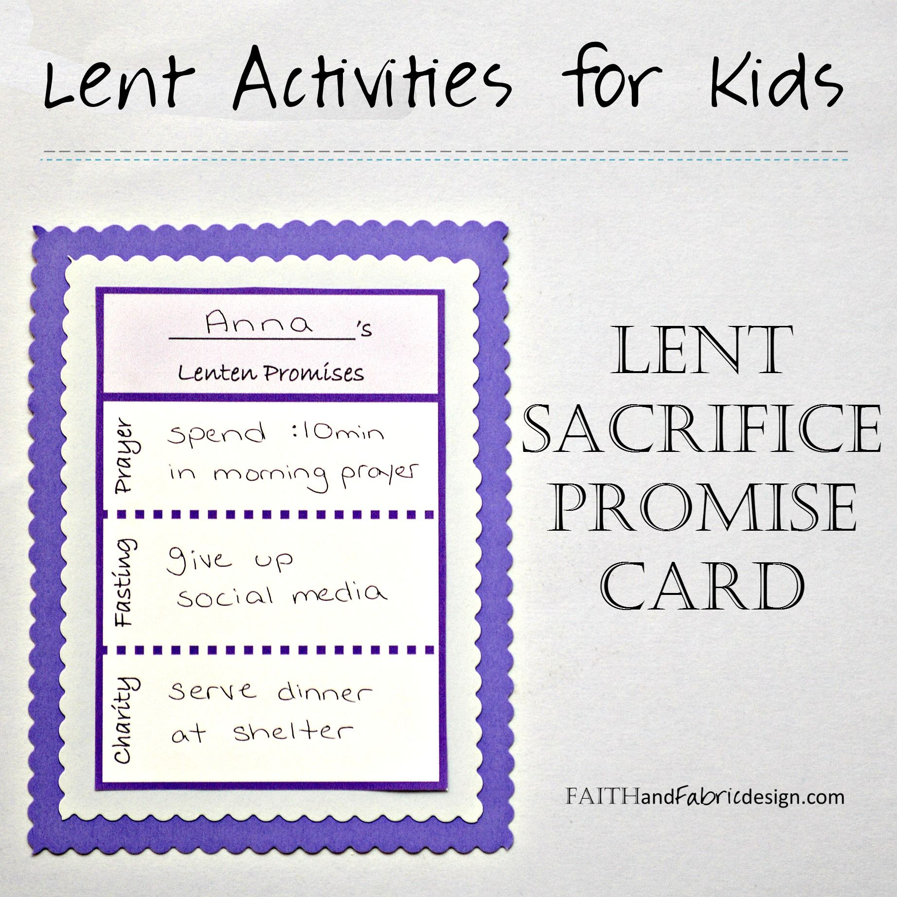 Write Down Your Lent Sacrifice Ideas On This Lent Promise