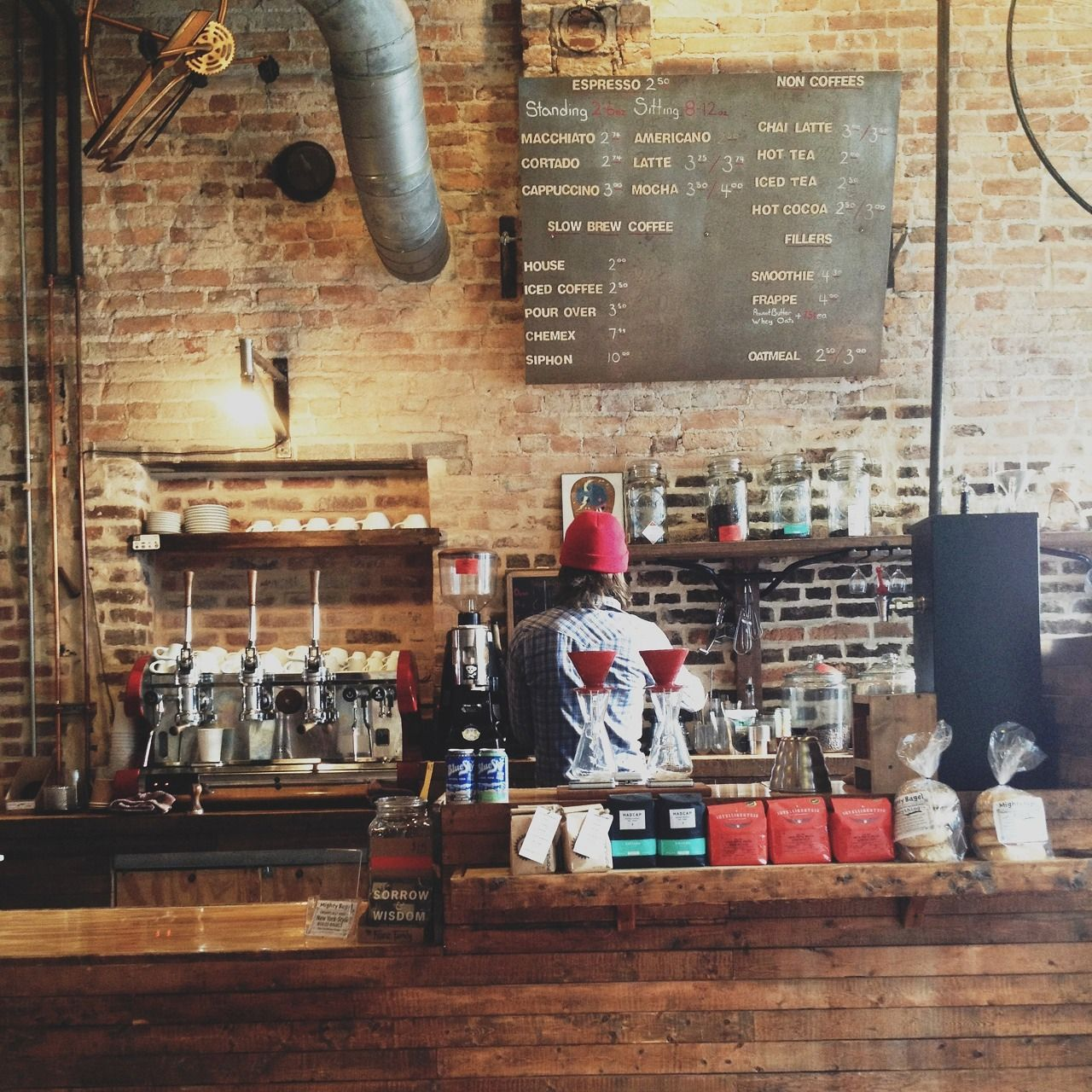 wooden coffee counter at The Hub in Springfield, Mo