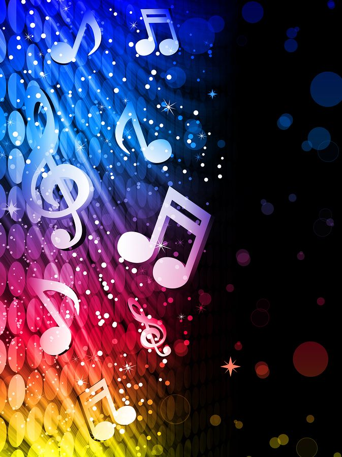 Sparkly Neon Music Notes Party Abstract Colorful Waves