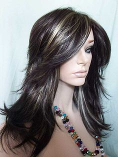nirvana tarah wig in dark brown highlighted with golden blonde super long bangs if i decide to