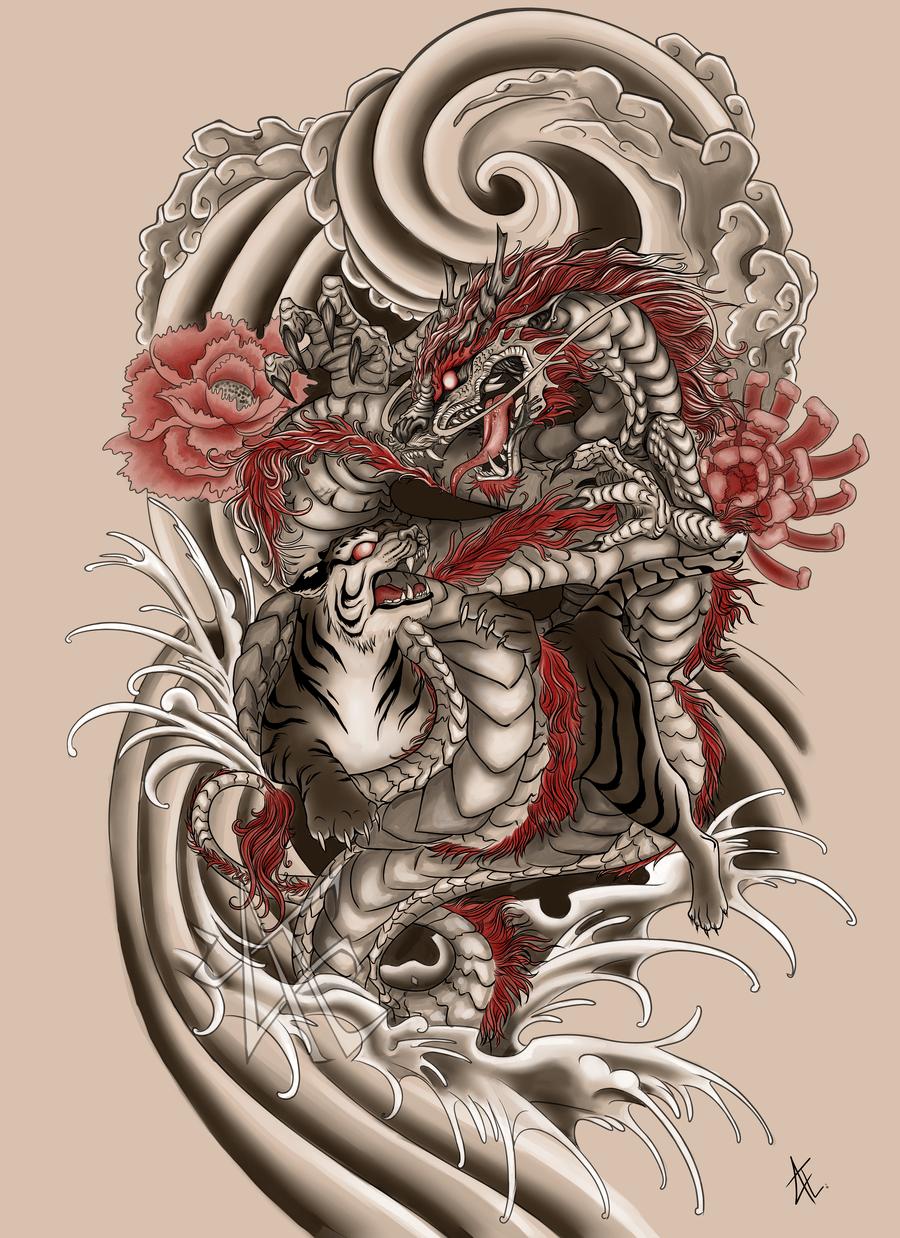 Japanese Tattoo Commission by BeautifulBeasties on