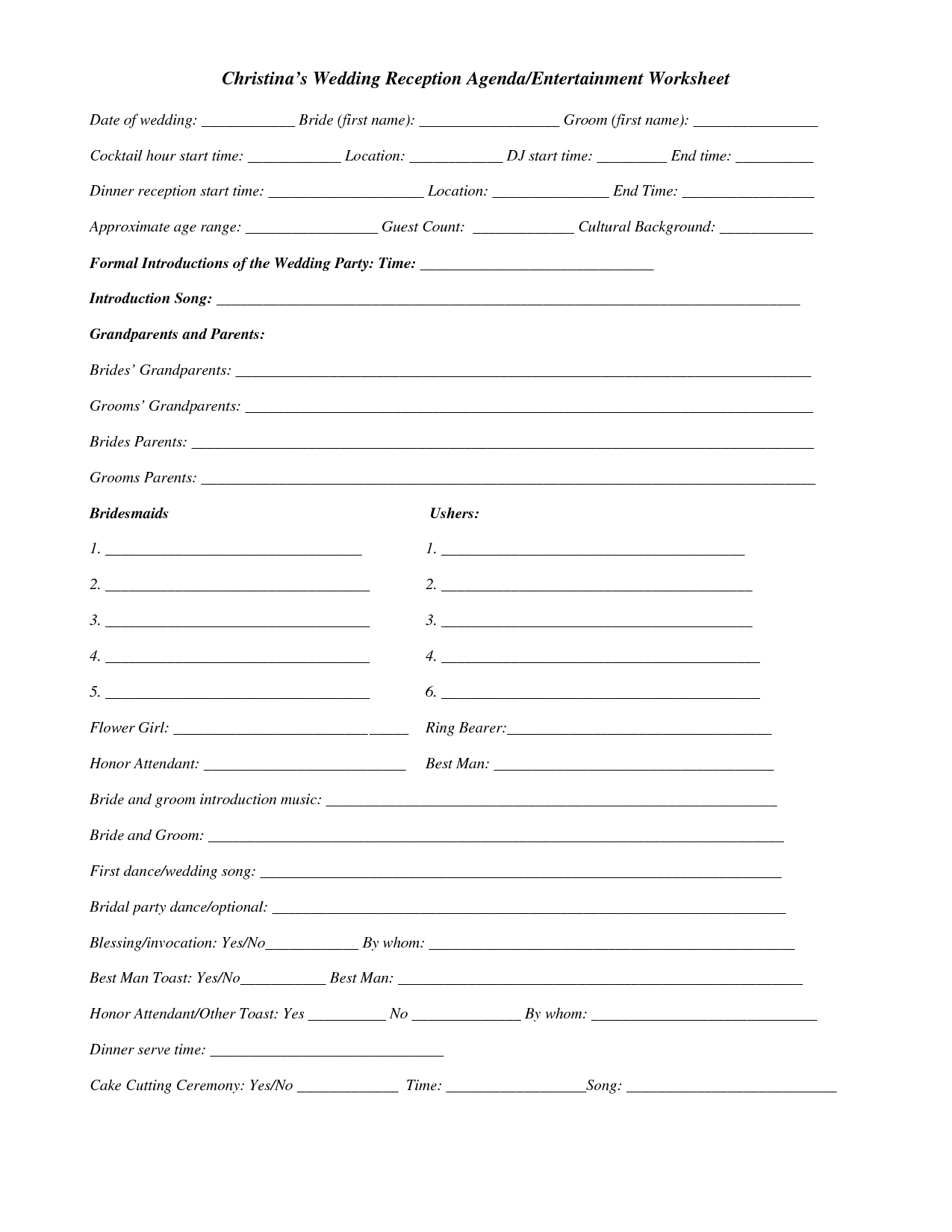 Dj Wedding Planner Printable Worksheets Quelles Astuces