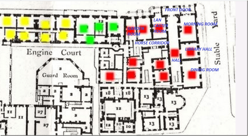 A Later Floor Plan. The Red Squares Are Clarence House