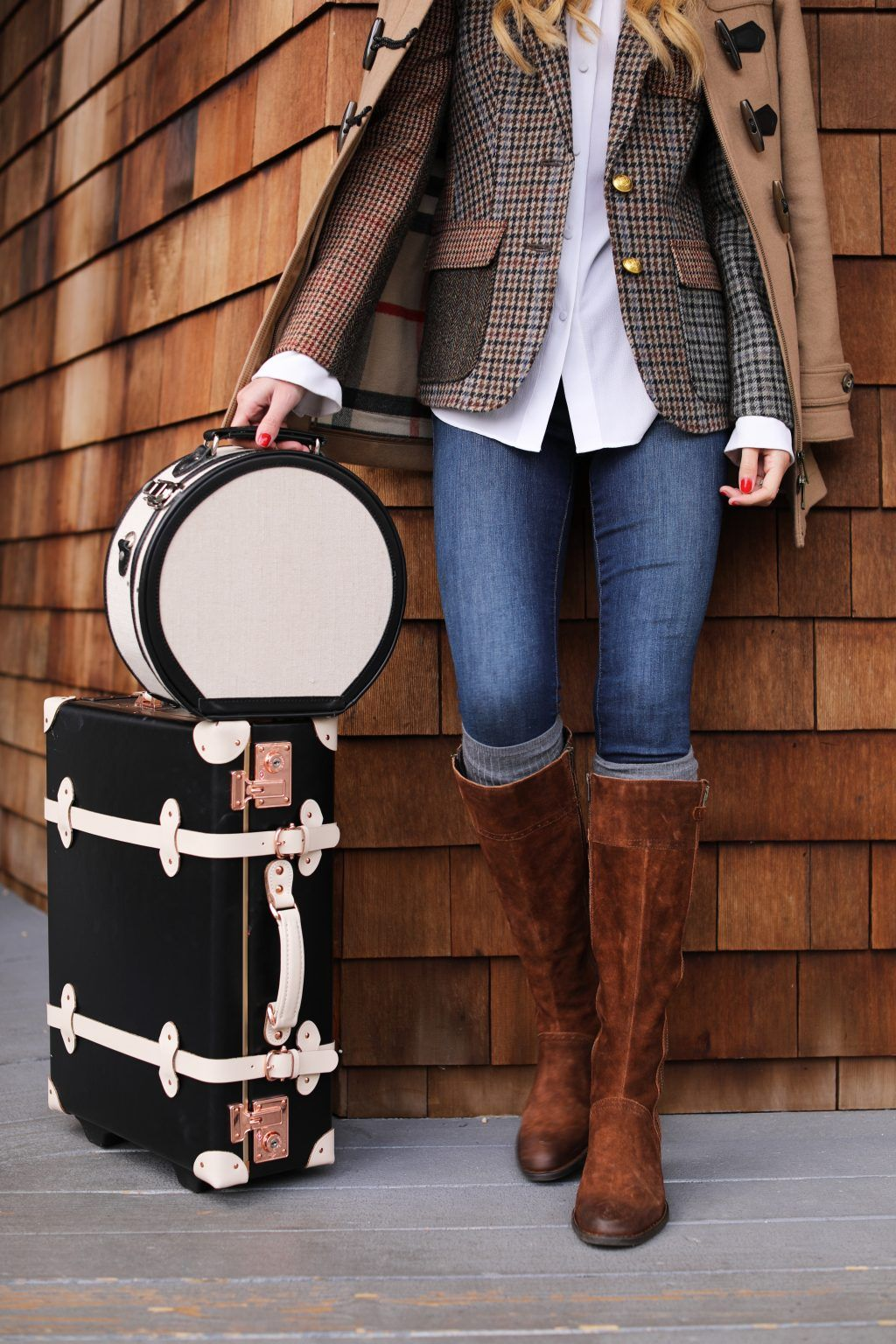 Brown leather boots and Plaid blazer fall outfit; fall