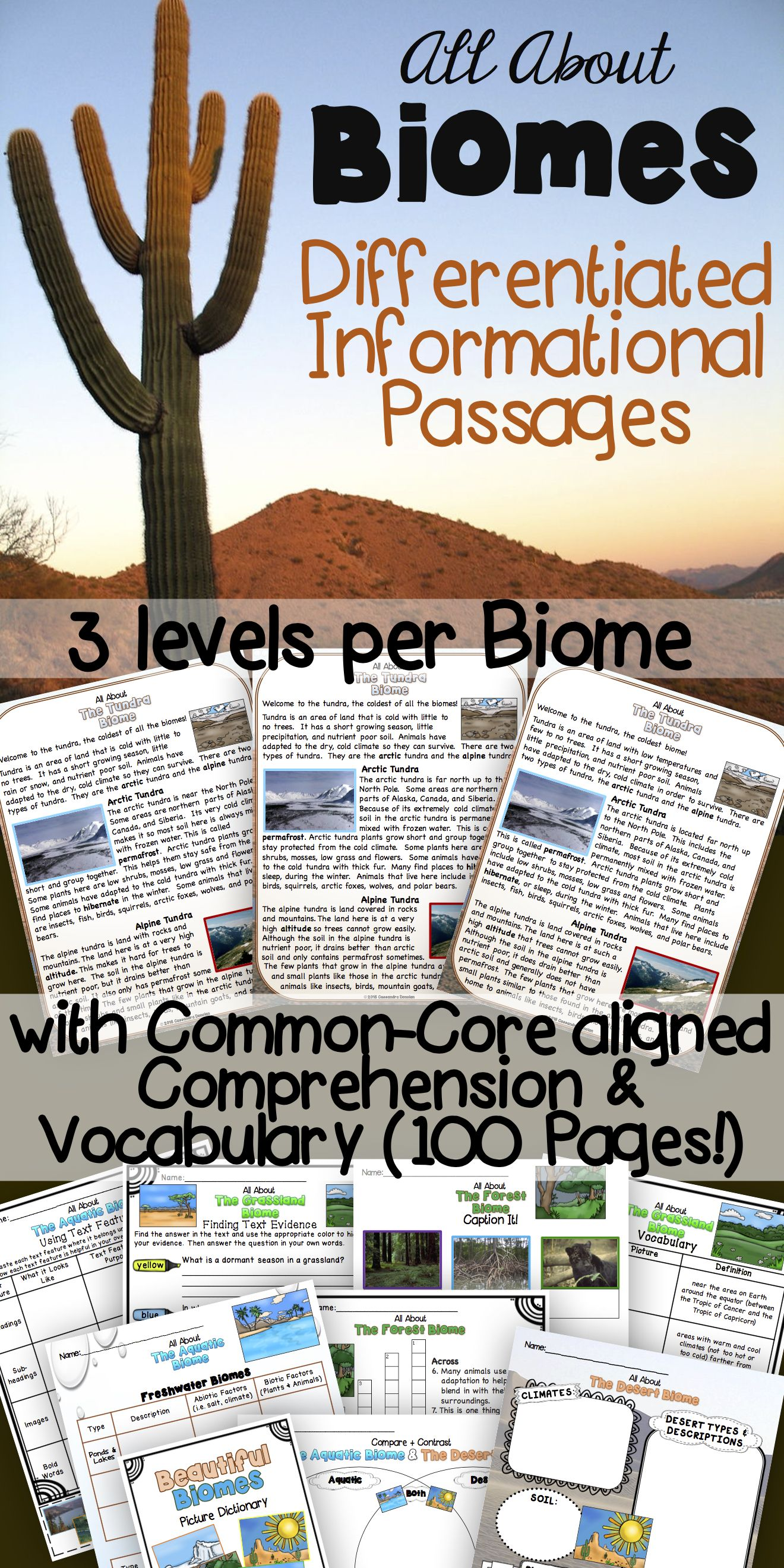 Differentiated Biomes Reading Passages With Vocabulary Amp Comprehension