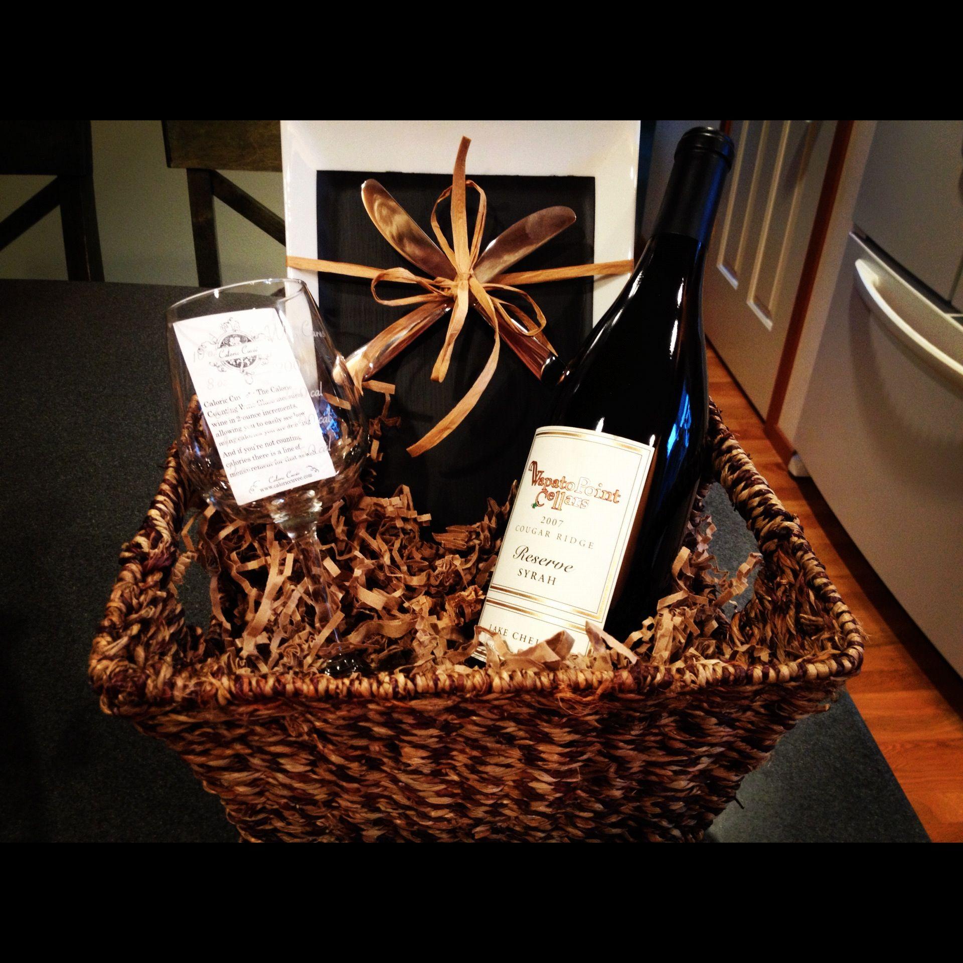 Wine gift basketdiaper raffle prize idea Baby Shower