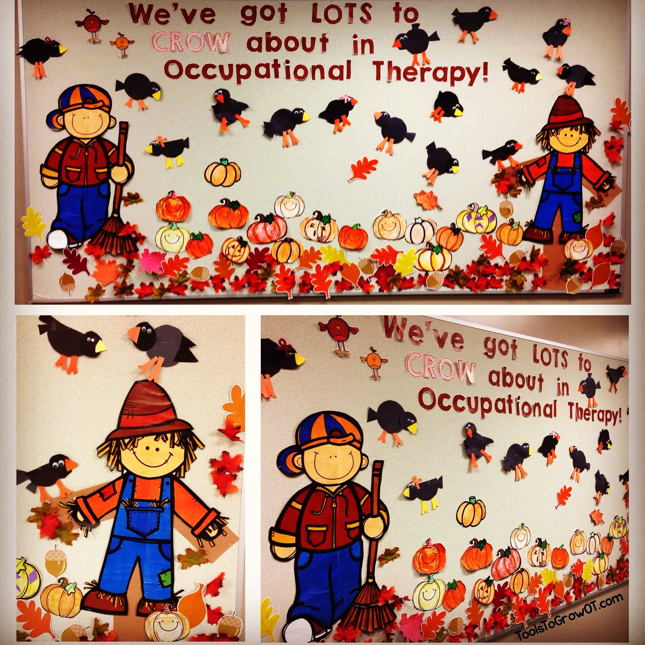 Fall Themed Bulletin Board Scarecrow Crow Pumpkin And