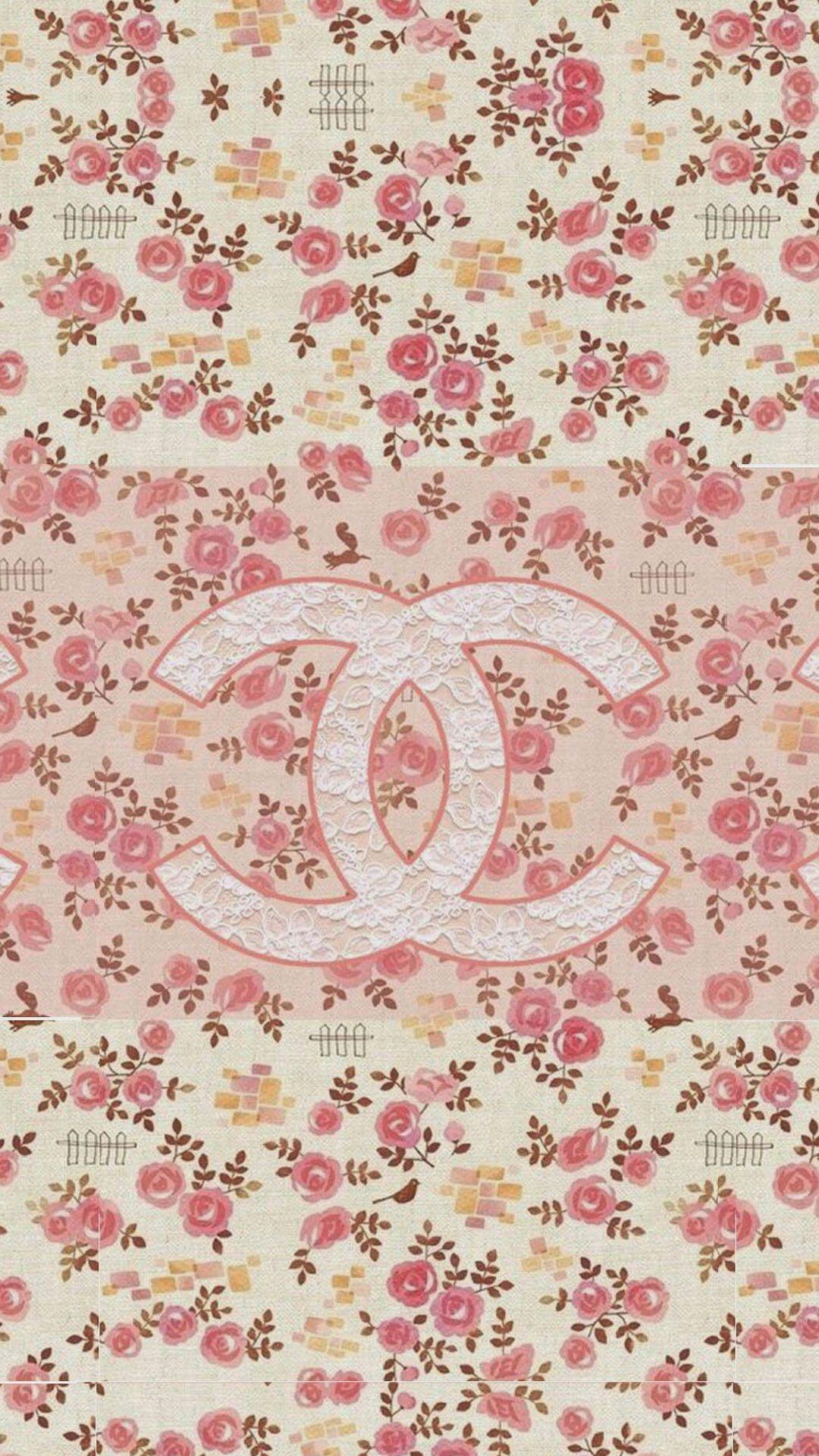 Coco Chanel Flowers Pattern Logo wallpaper Wallpaper