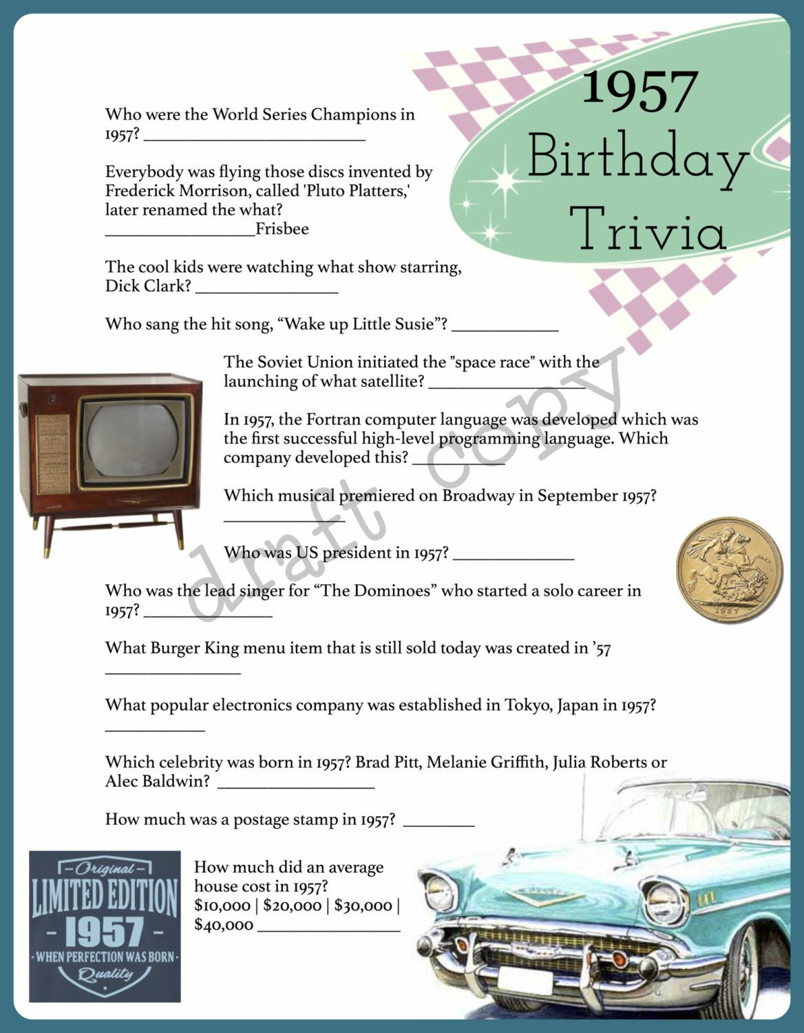 1957 Year Birthday Trivia Game 60th Birthday Instant