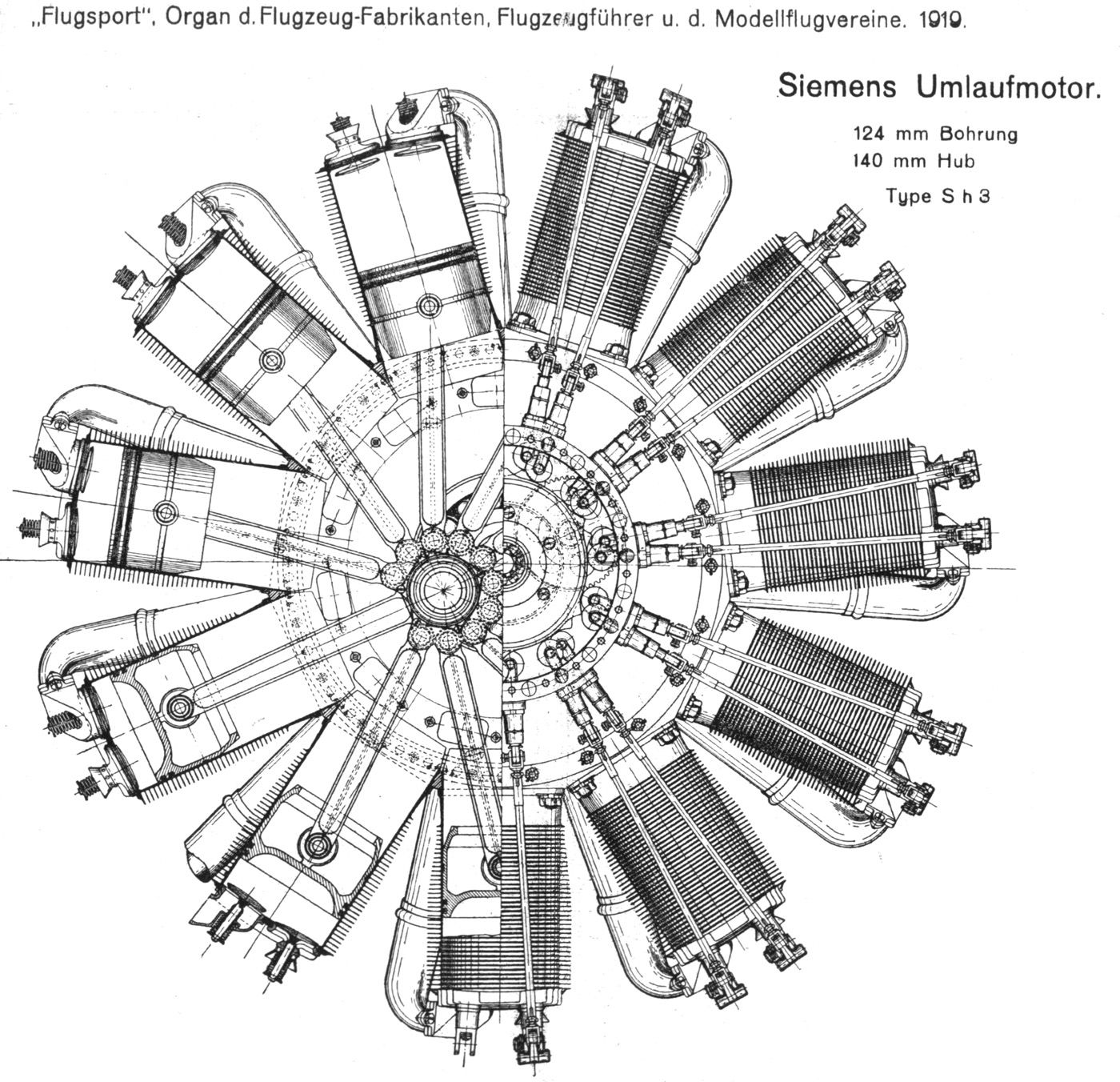 Siemens Halske Sh3 Rotary Aero Engine