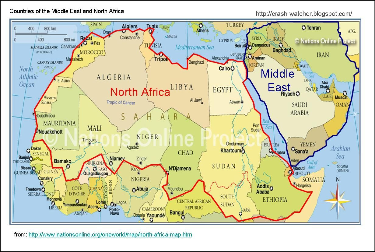 North African Countries Algeria, Chad, Egypt, Ethopia