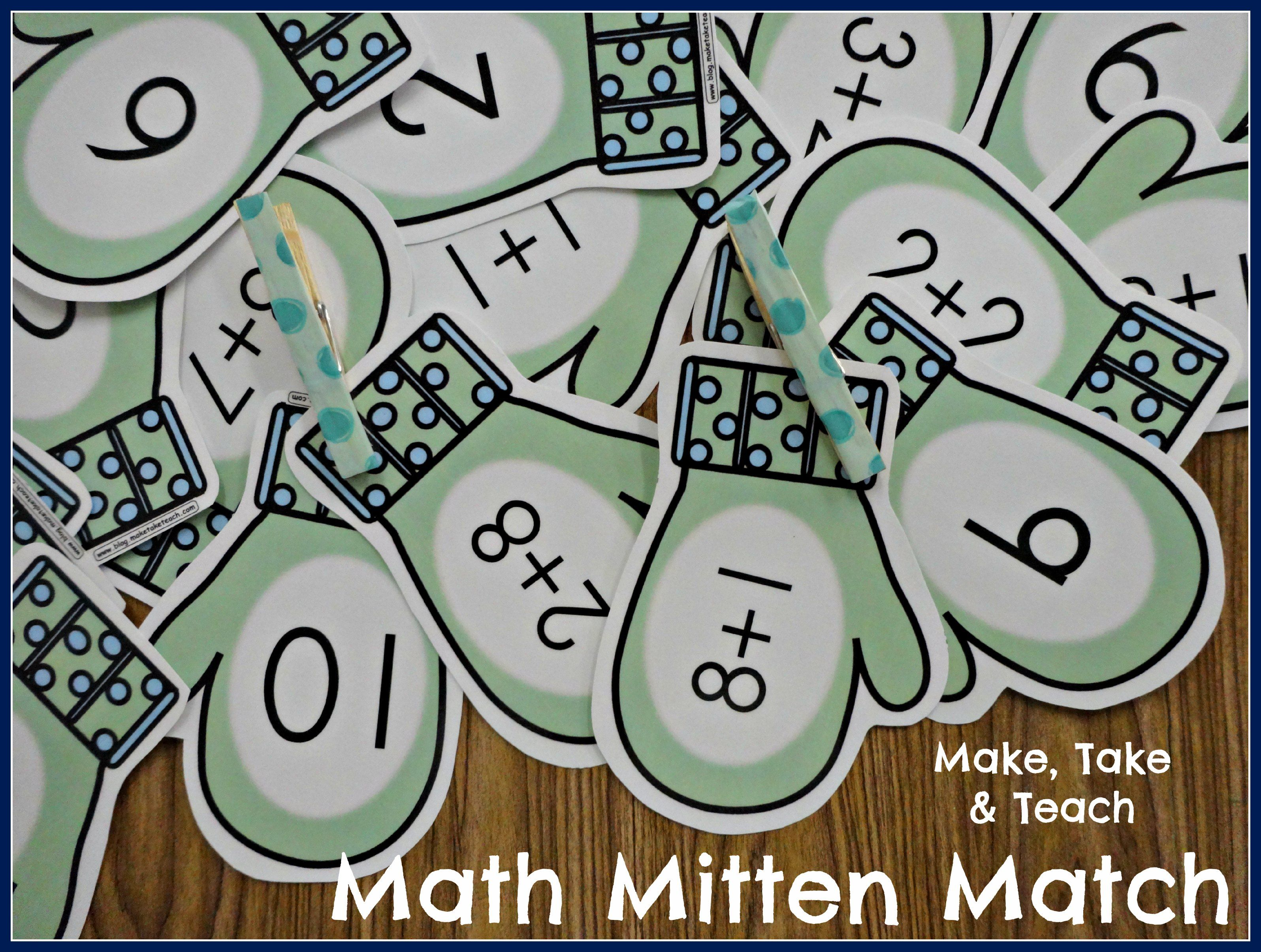 Free Mitten Math Activity For Addition Great For Centers