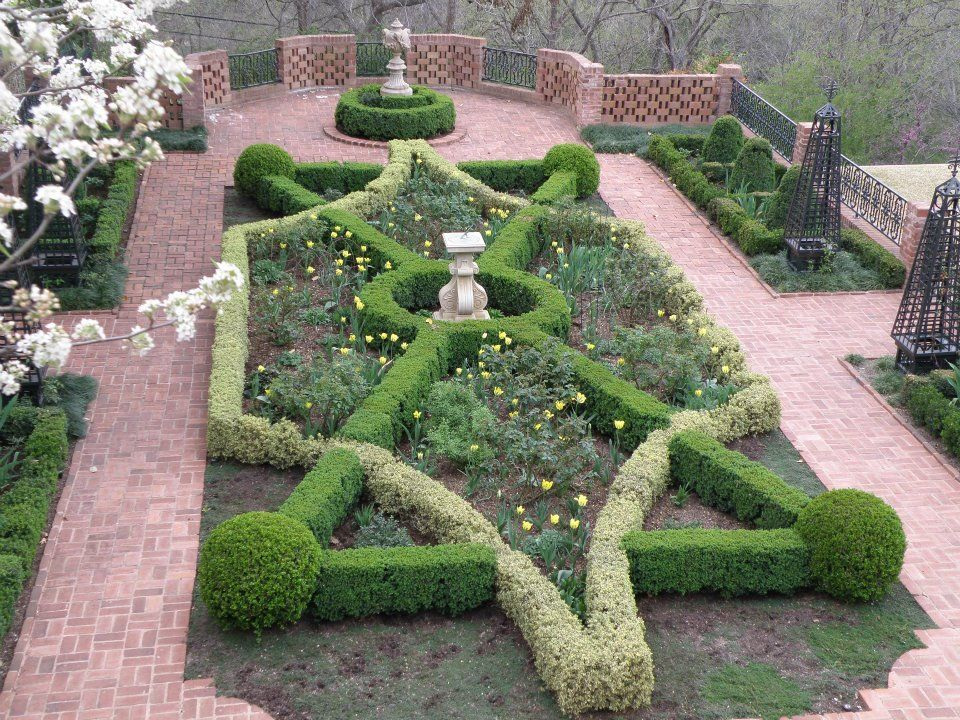 early spring knot garden featuring English variegated