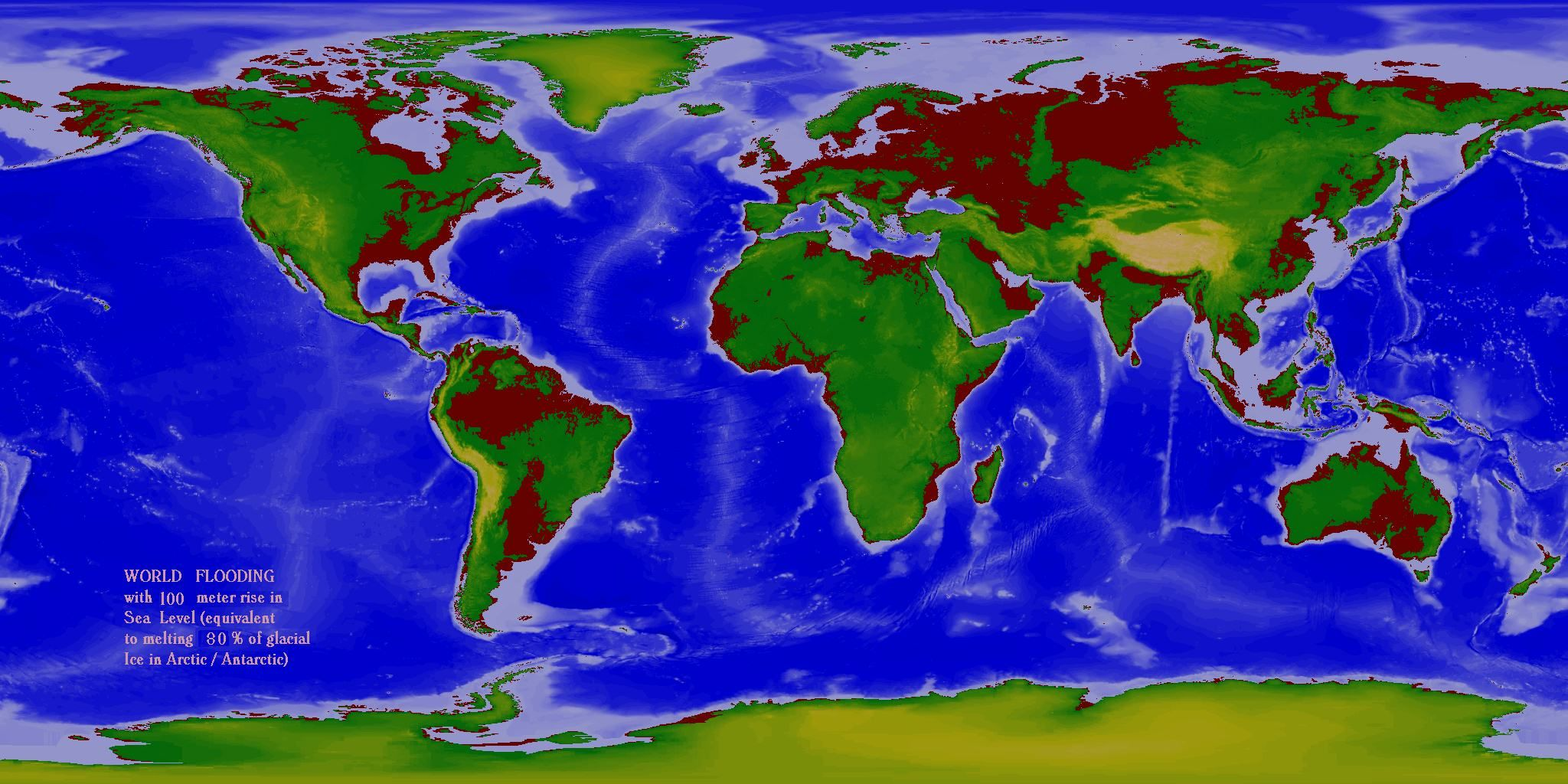 World Flood Maps 60m & 100m rise in sea level Old