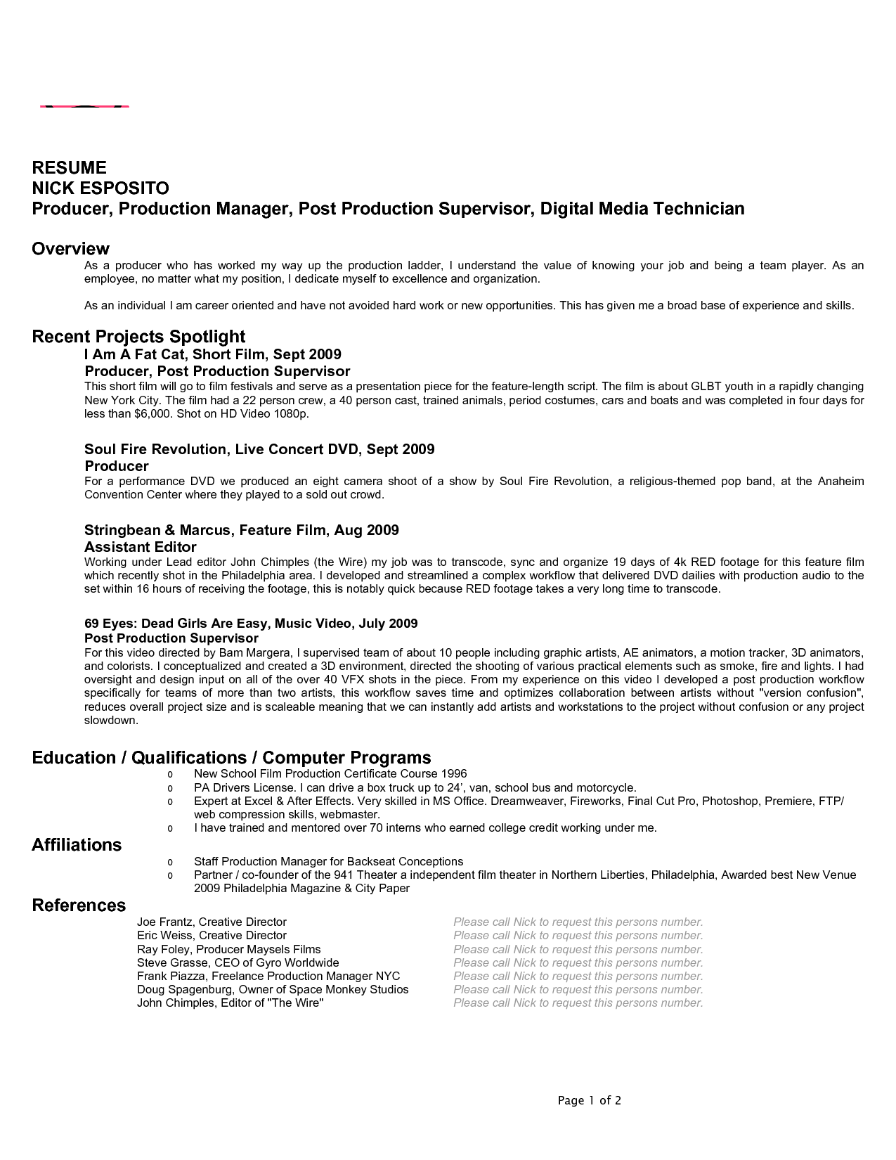 film producer resume Google Search Bragging Rights