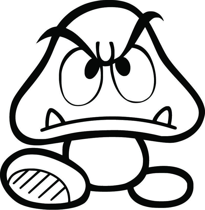 """Super Mario Bros. Goomba 5"""" Decal. Available in, White"""