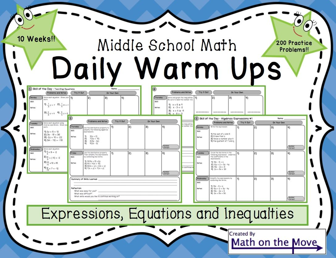 Ten Weeks Of Warm Ups Covering Expressions Equations And Inequalities Each Day Students Solve