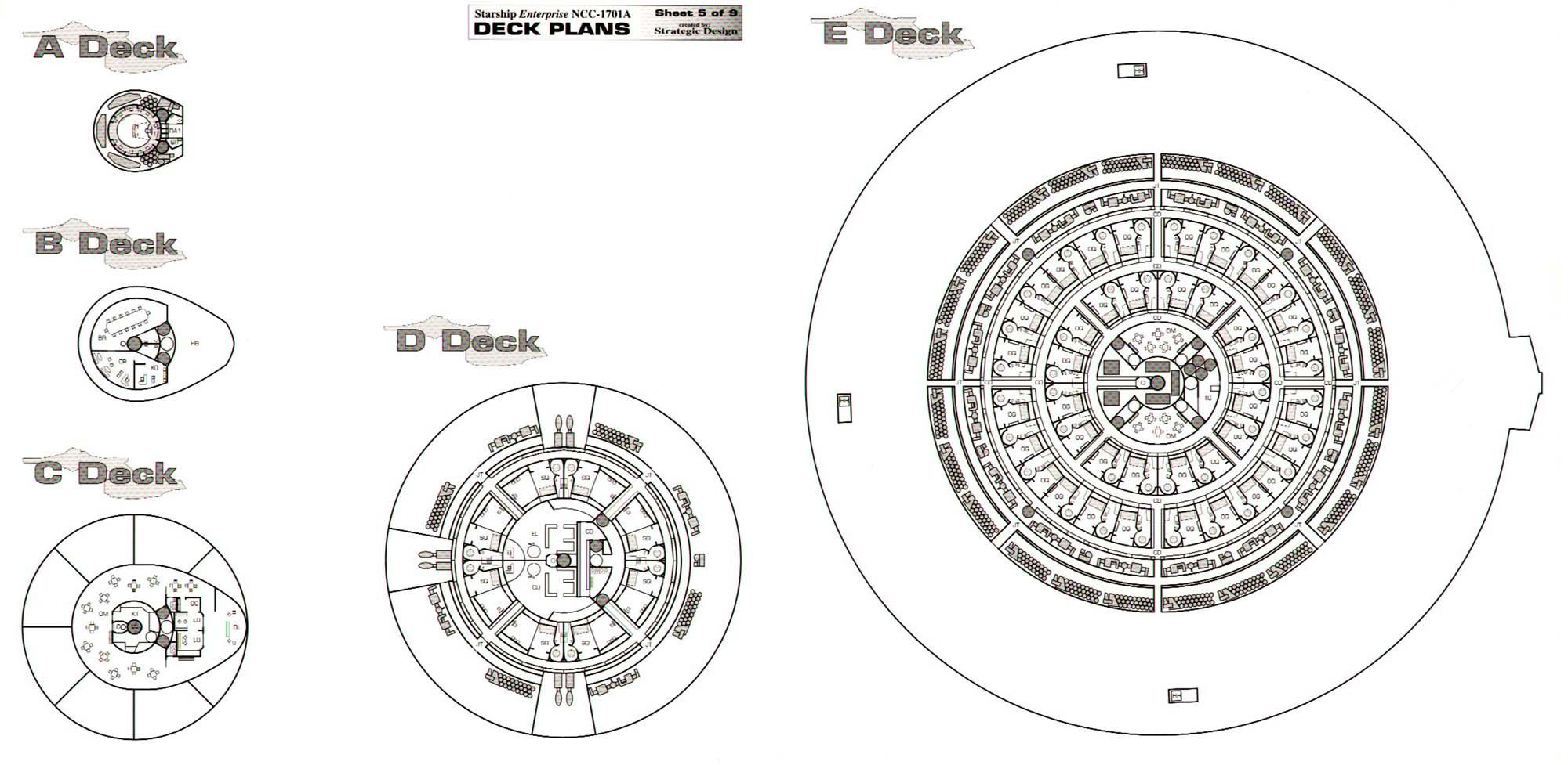 Star Trek Blueprints Uss Enterprise Ncc A Deck Plans