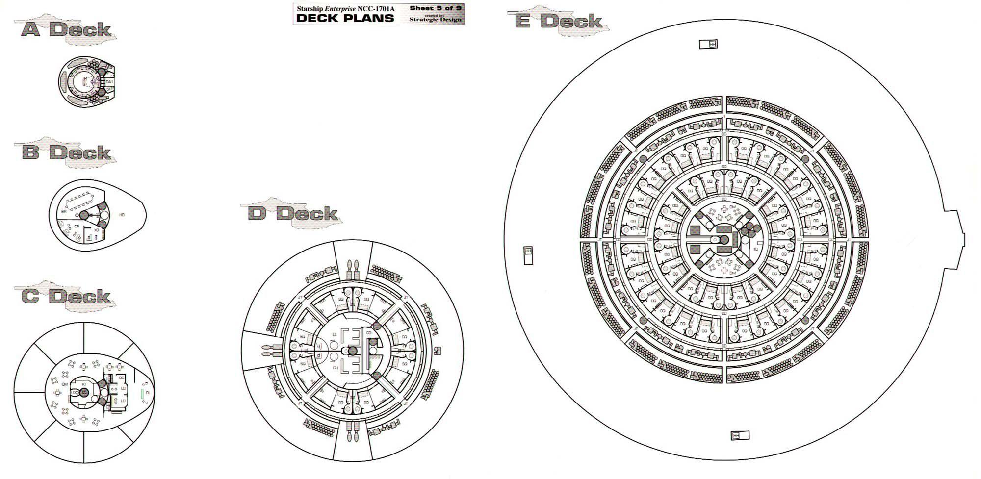 Star Trek Blueprints Uss Enterprise Ncc A Deck Plans
