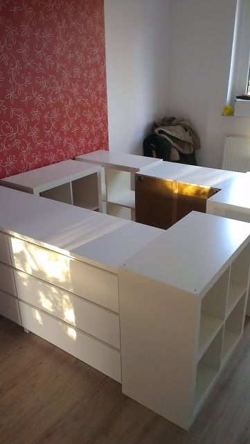 Example Of Elevated Platform Bed With Under Storage Add A Mattress On Hinged