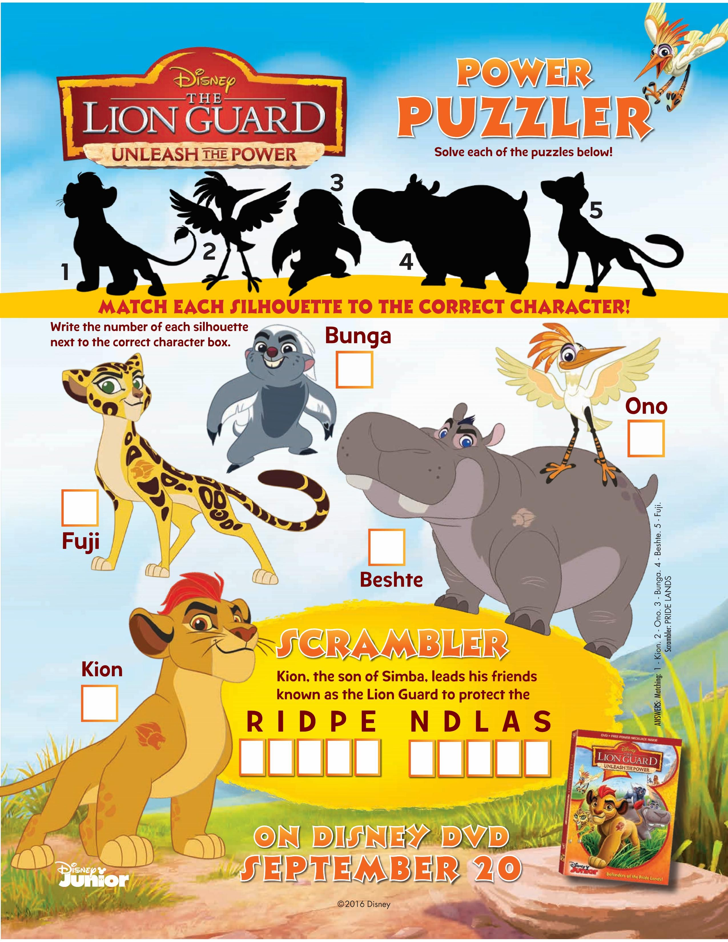 Printable Disney Lion Guard Puzzle Page Printable