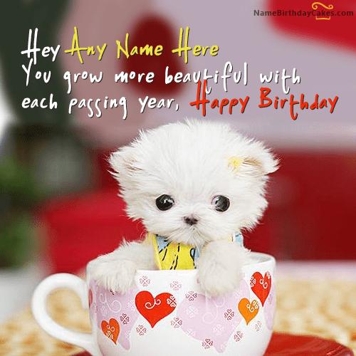 Write name on Cute Puppy Birthday Wish Happy Birthday