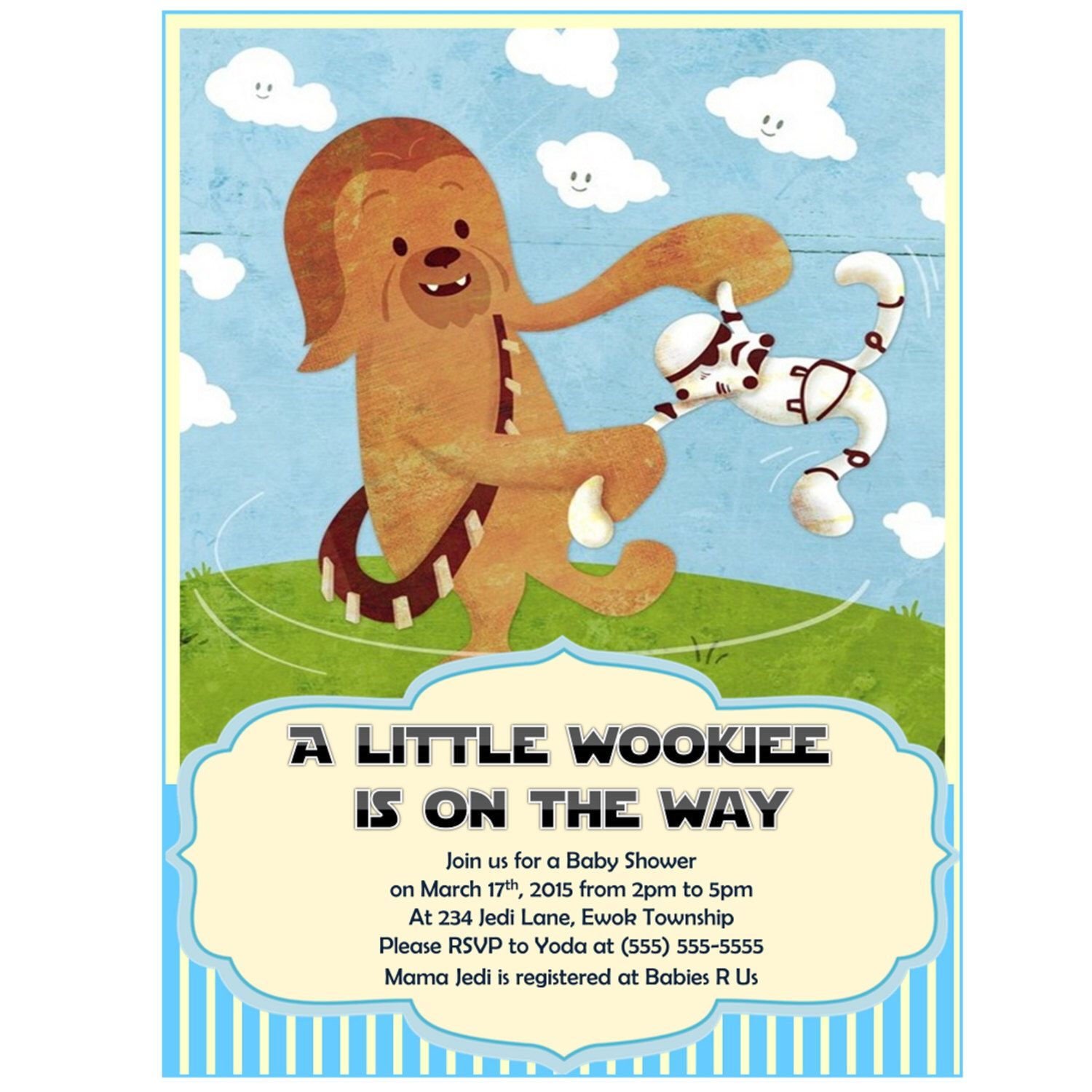 Star Wars Baby Shower Invitation Chewbacca Boy Baby Shower Invitations Wookiee Wookie Invites