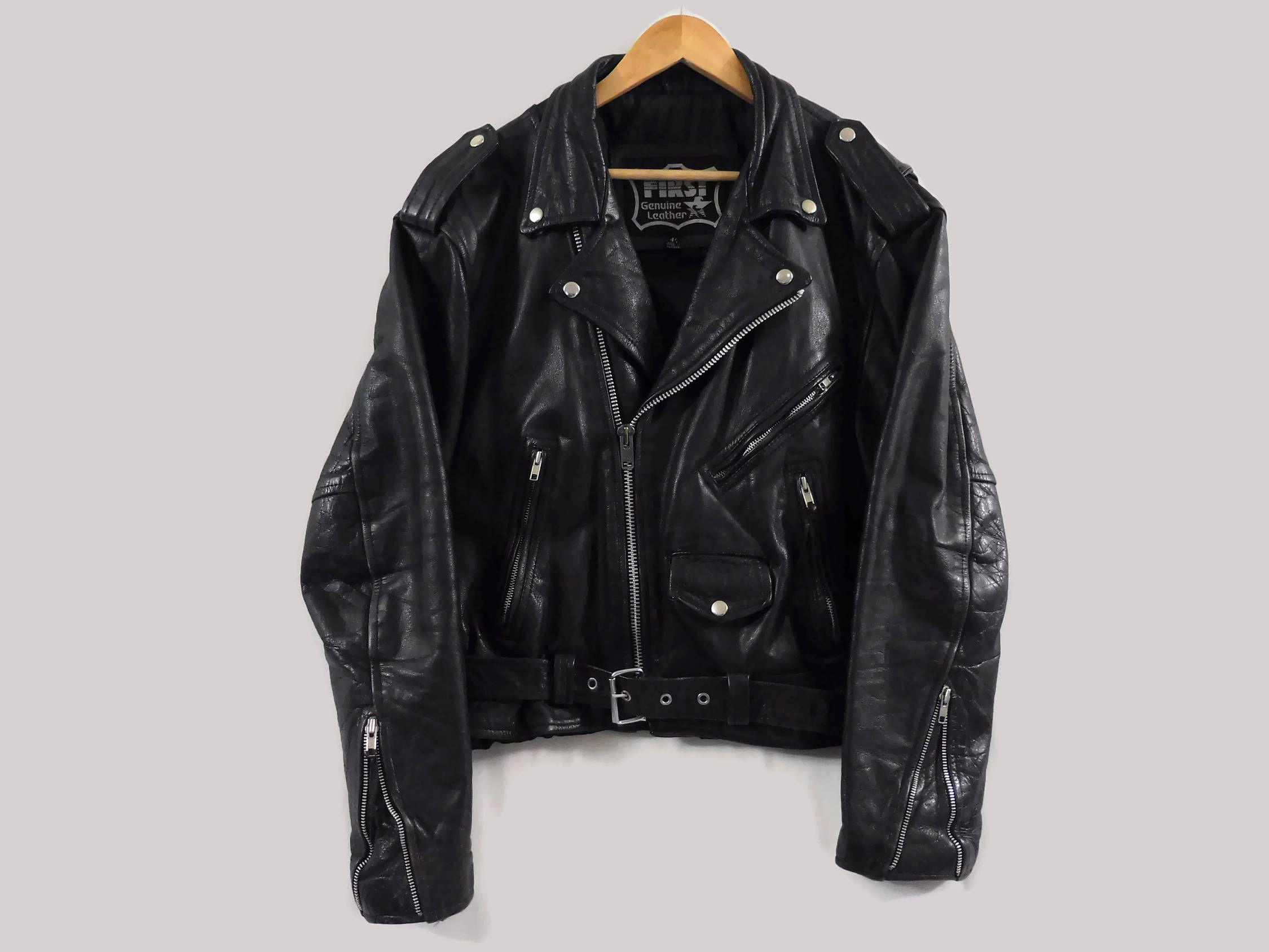 Vintage Black Leather Jacket Large First Leather