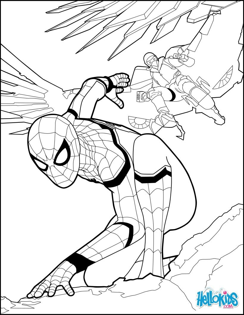 Spiderman coloring page from the new Spiderman movie