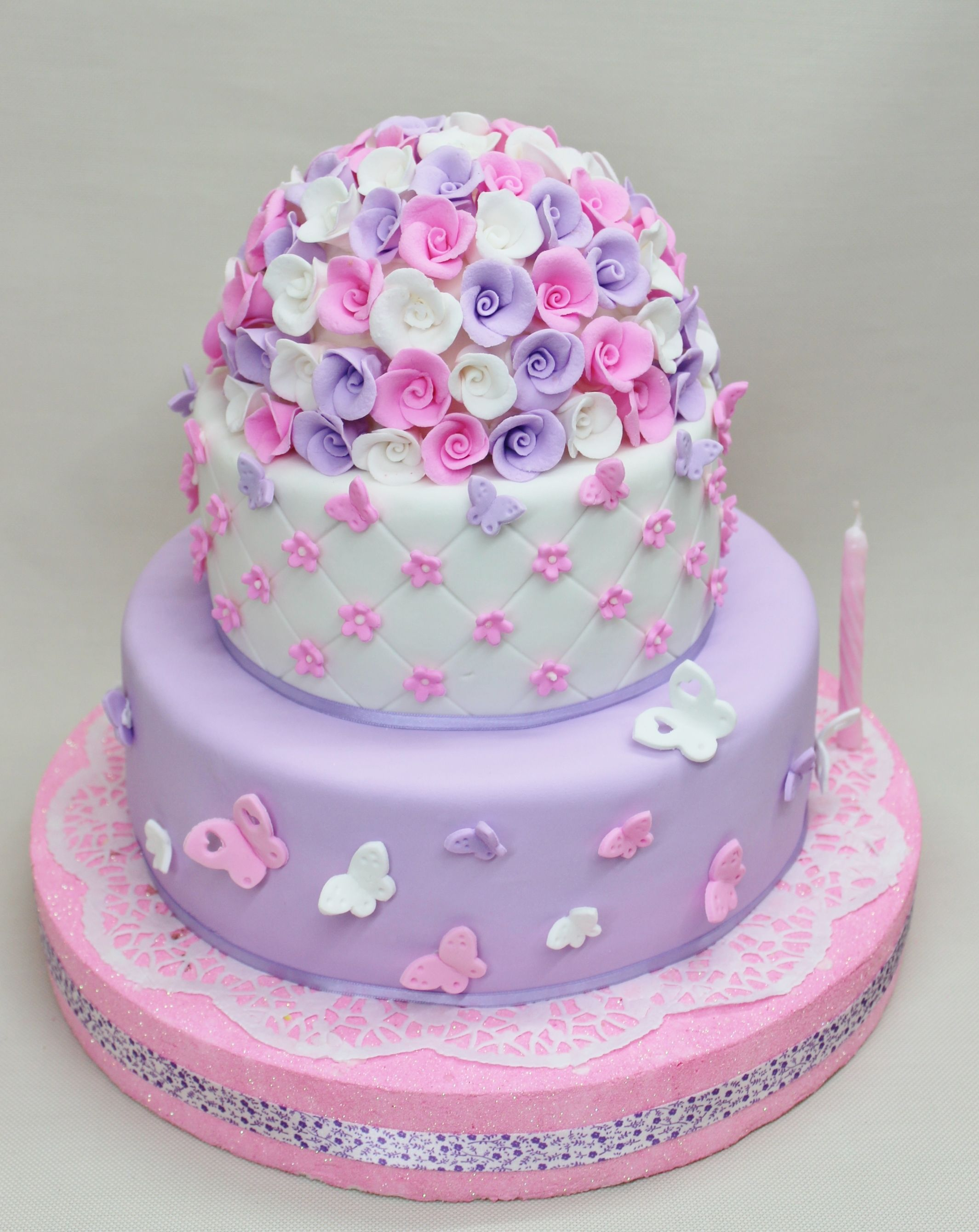 Flowers & Butterfly Cake by Violeta Glace Cakes