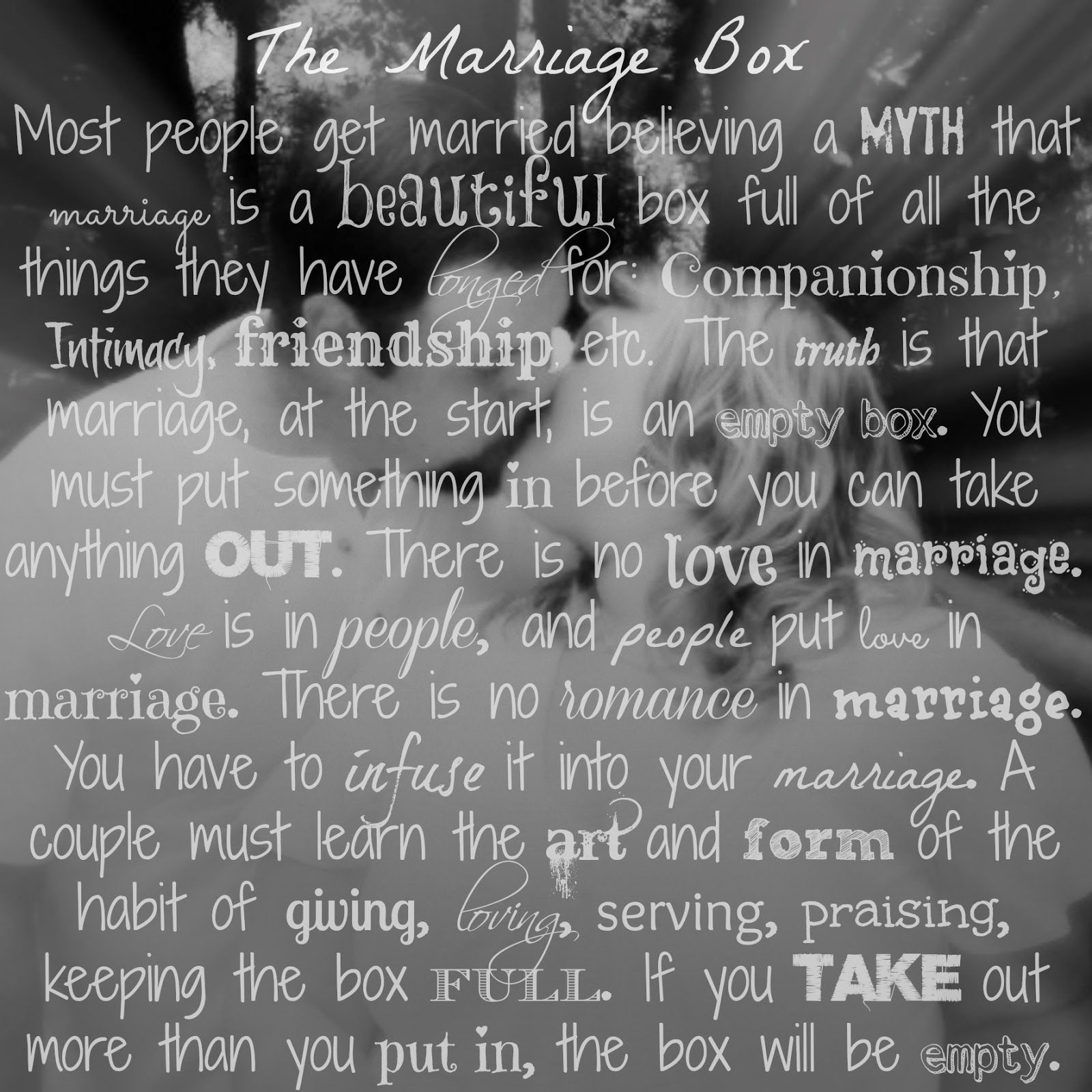 The Marriage Box...anyone can have a piece of paper that