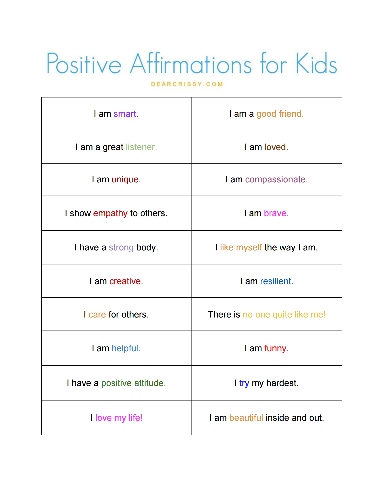 The 25 Best Positive Affirmations For Kids Ideas On