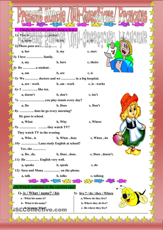 Present Simple /WhQuestions/ Pronouns Teaching 1st