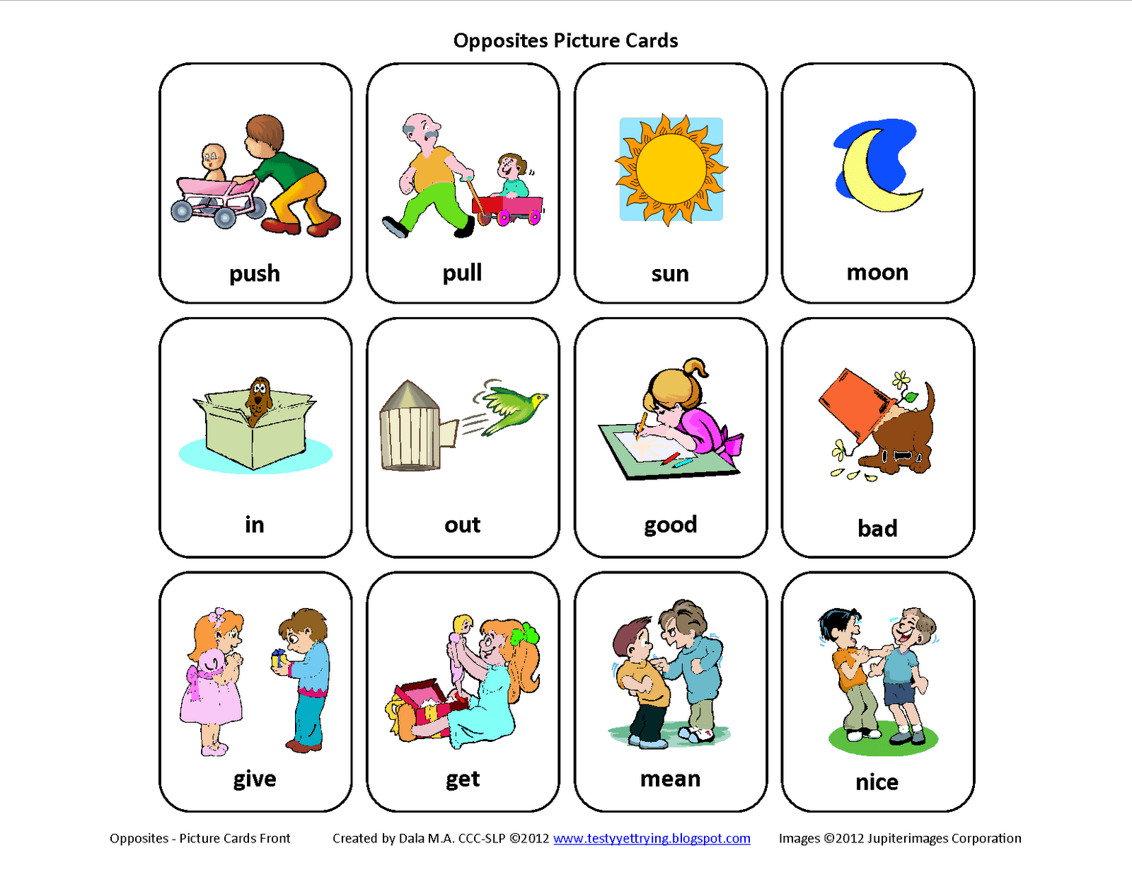 Opposites Clip Art Cliparts