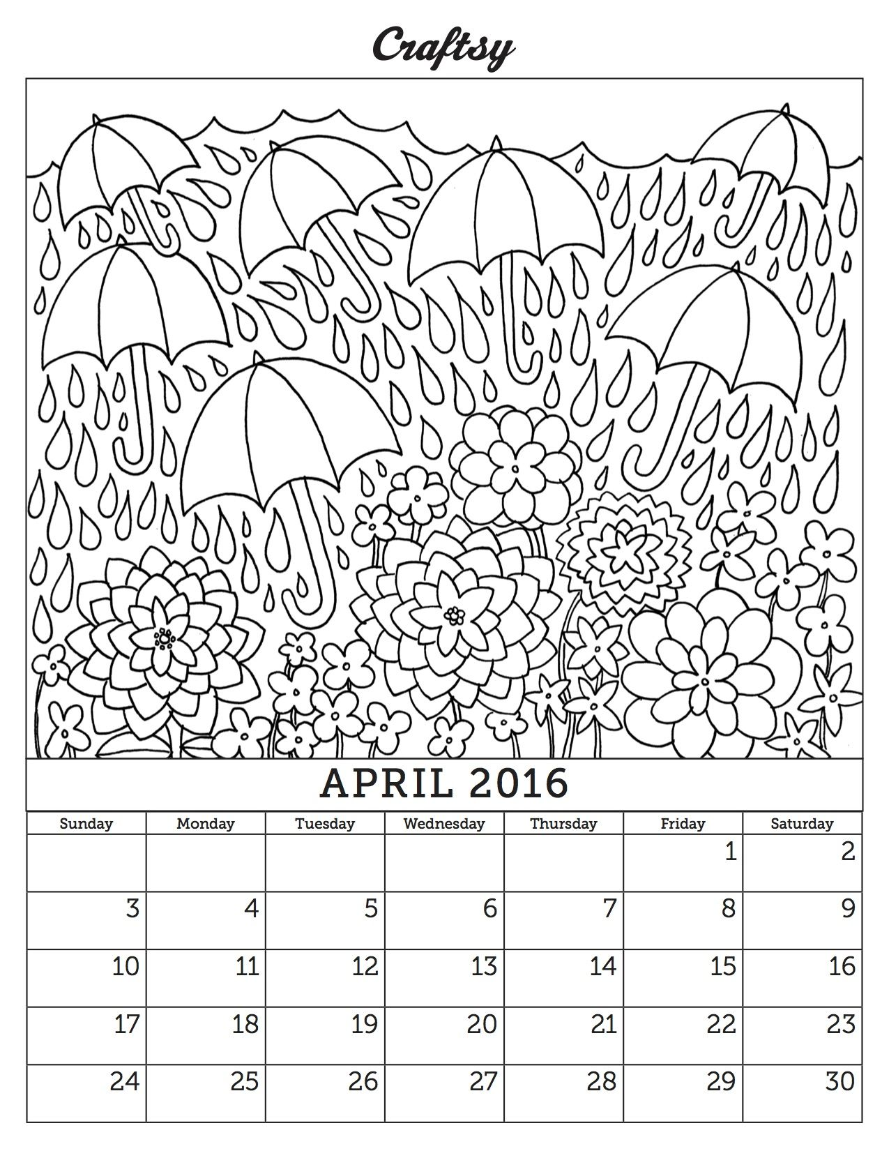 Free April Coloring Page Calendar
