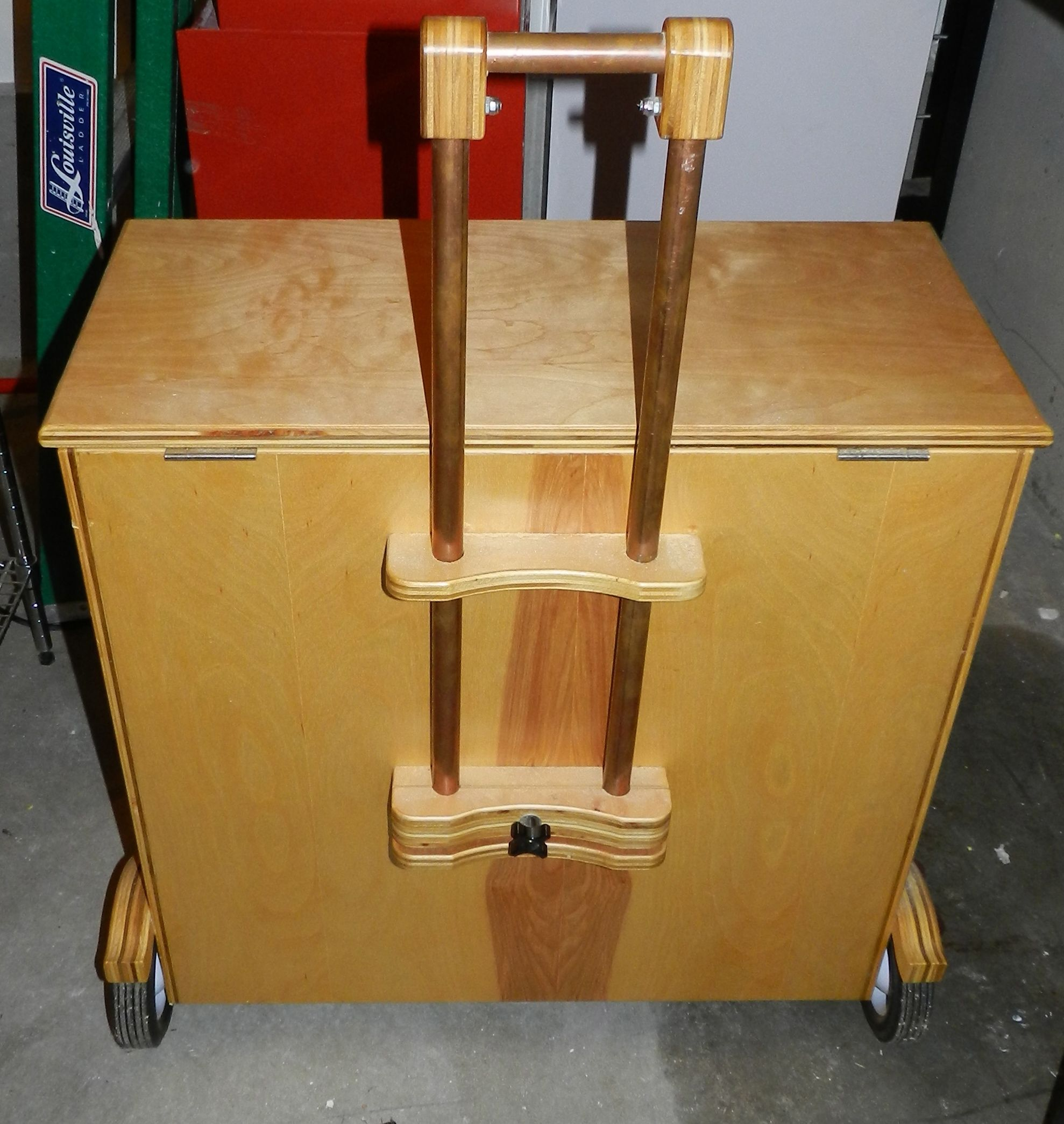 diy plywood rolling tool case with telescoping handle and