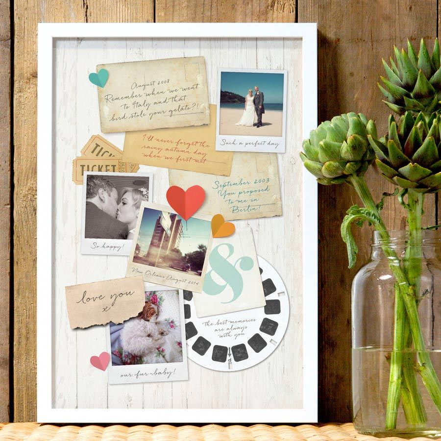 A memory board paper gift ideas for your first wedding