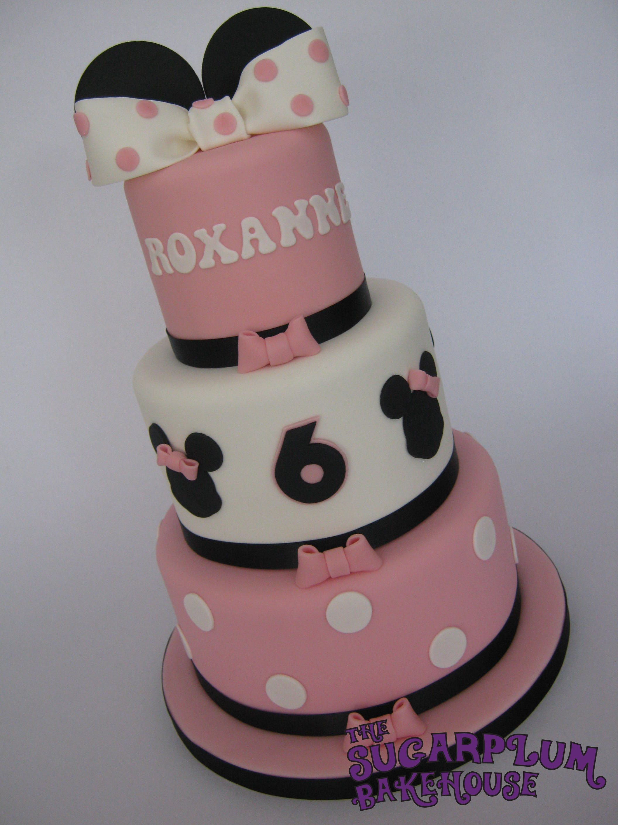 Mini 3 Tier Minnie Mouse Birthday Cake