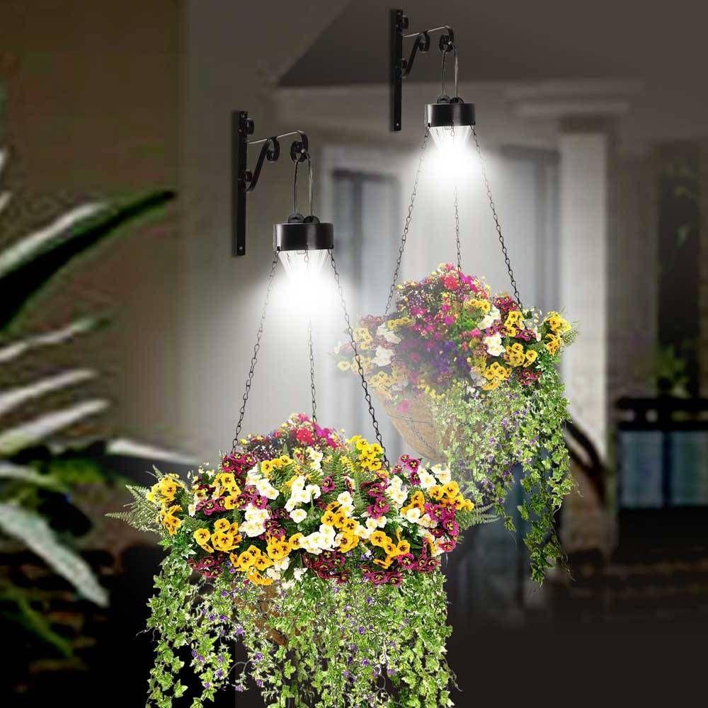 hanging solar lights outdoor Hanging baskets Pinterest