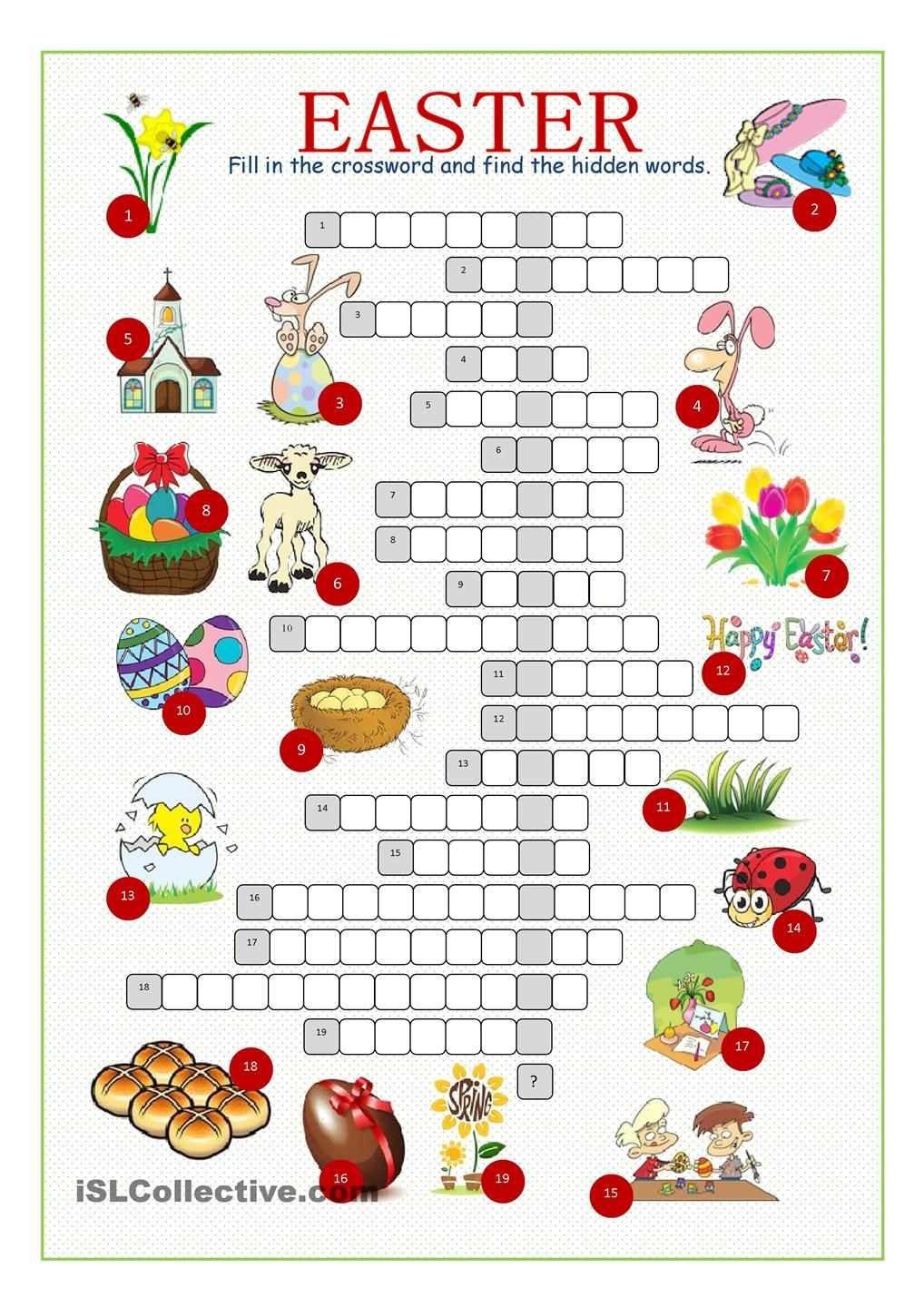 Easter Crossword Puzzle English Pinterest Easter