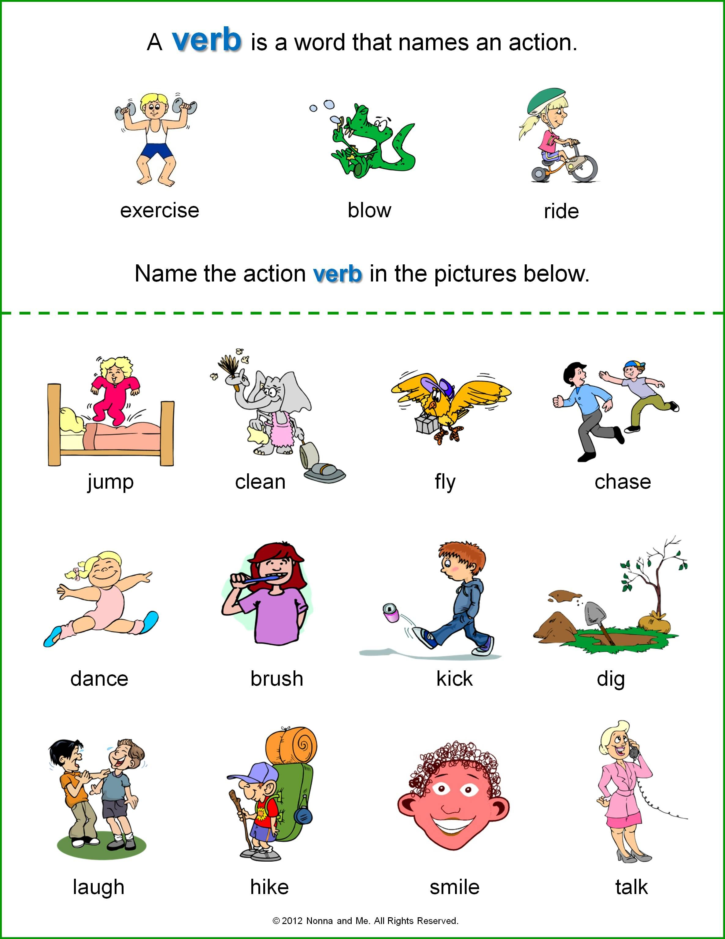 Verb Worksheets Kindergarten