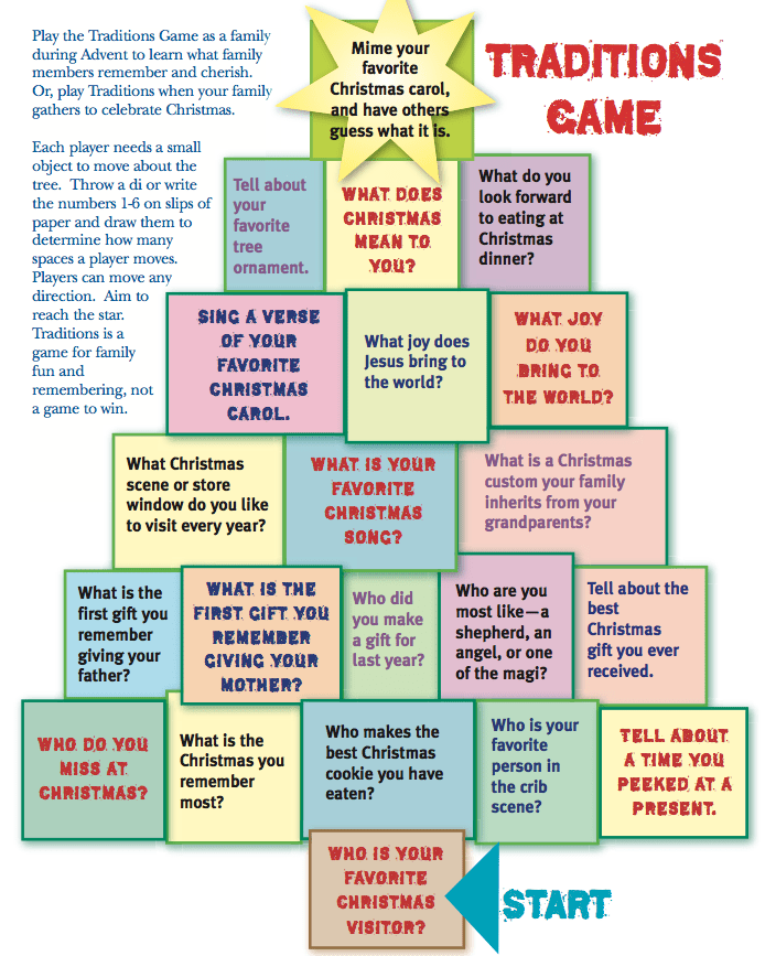 Print and play an Advent Traditions game! Free pdf