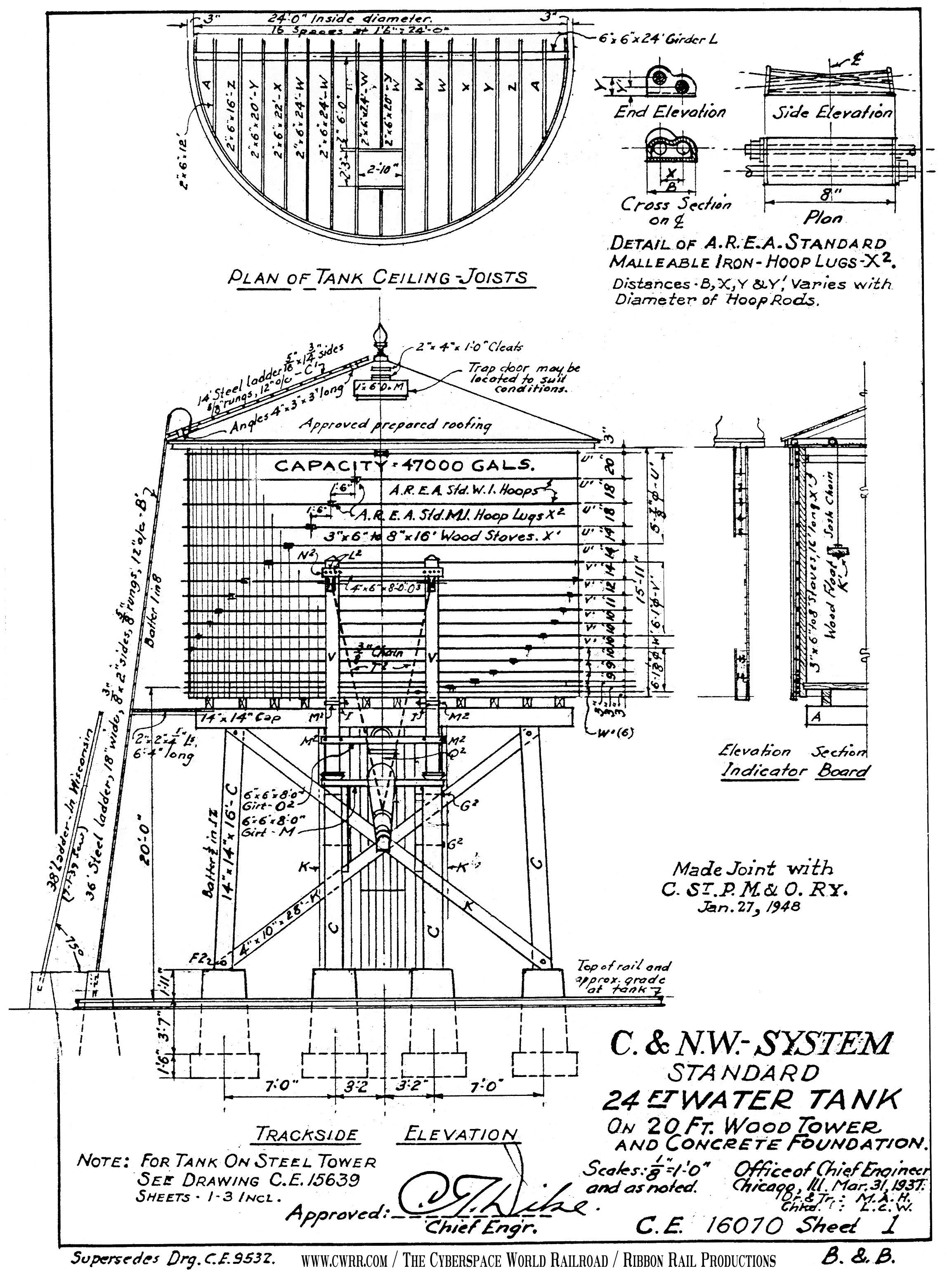 Water Tower Sheet 1 Trackside Elevation