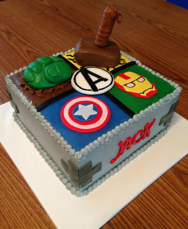 Avengers birthday cake hulk iron man thor and captain