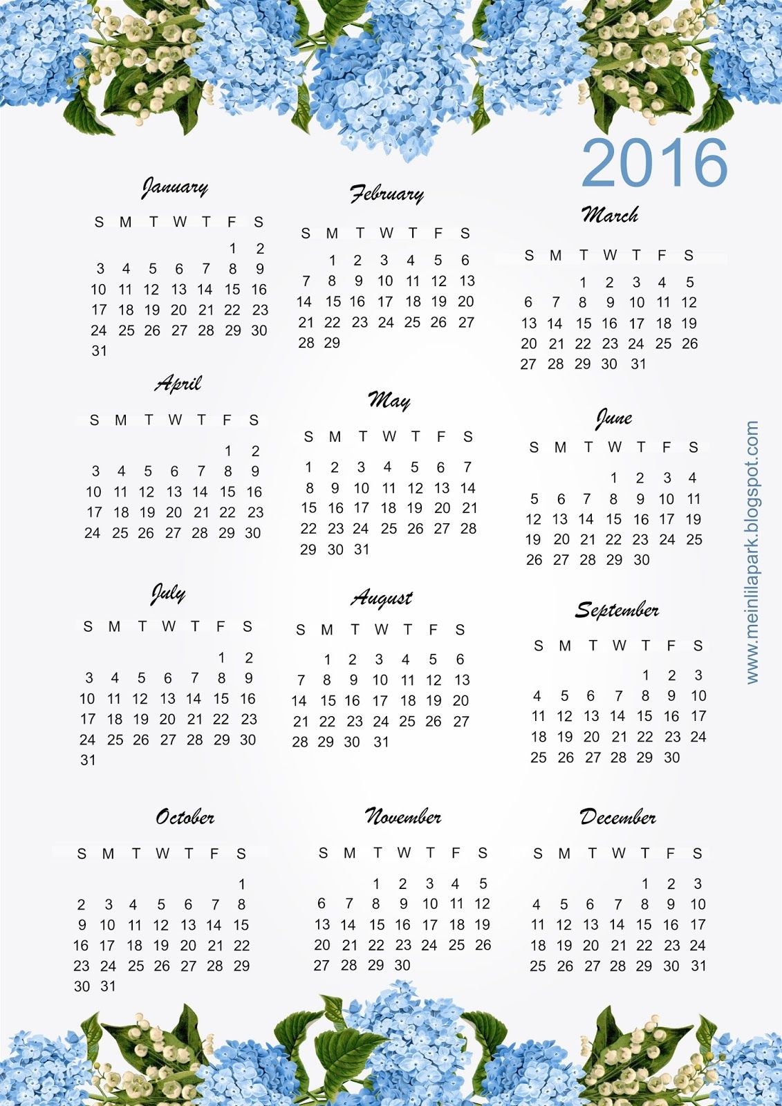 Free Printable Hydrangea Calendar
