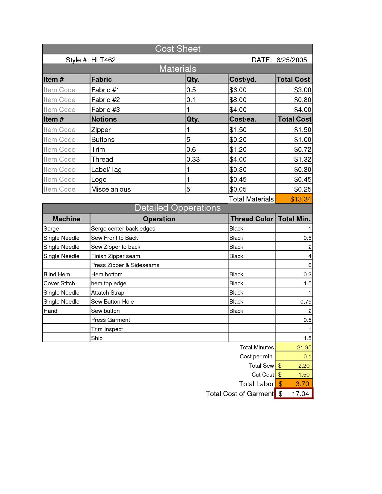 Garment Cost Sheet
