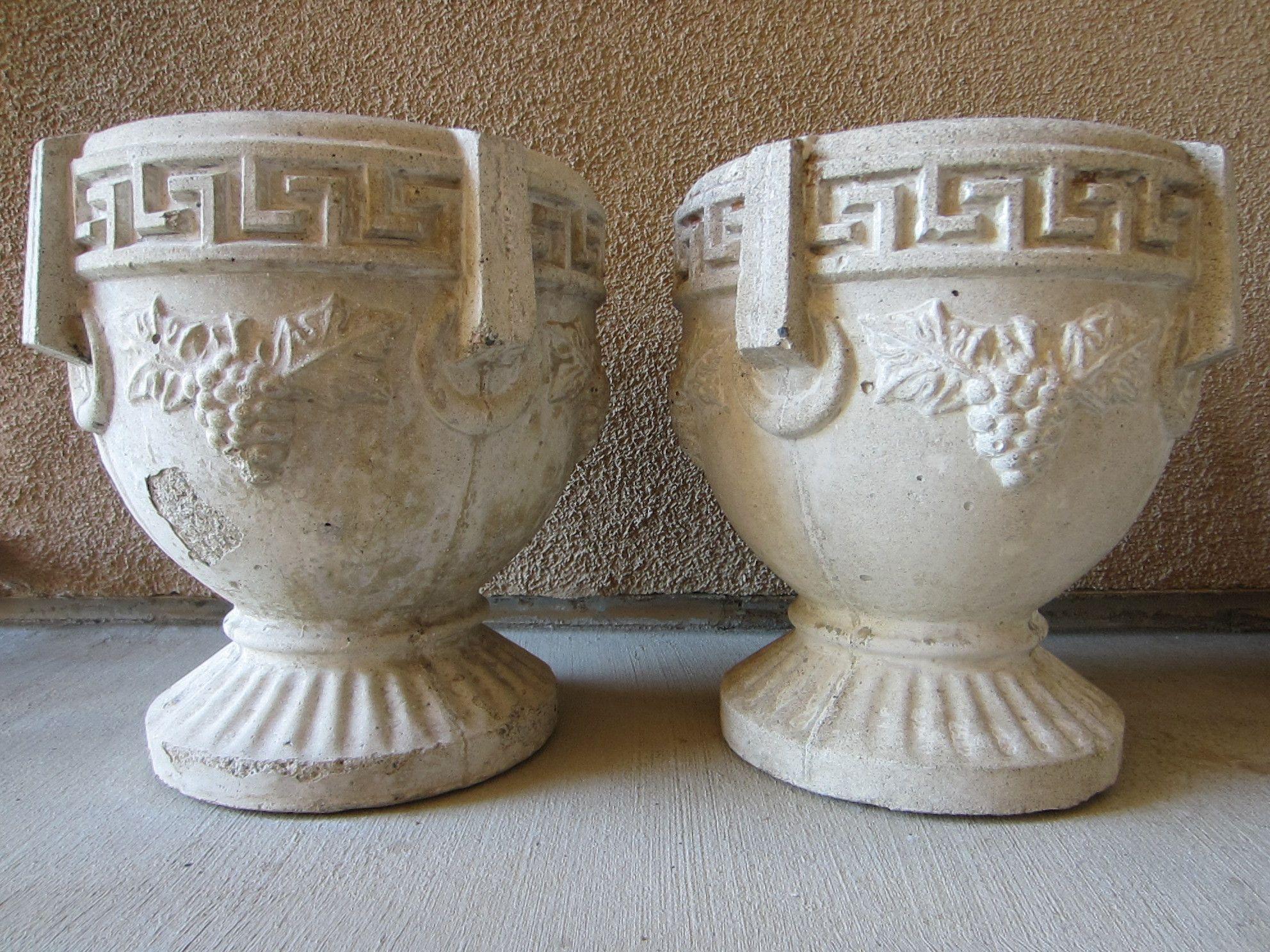 Garden Sculptures Cement Pedestal Urns Planters Greek