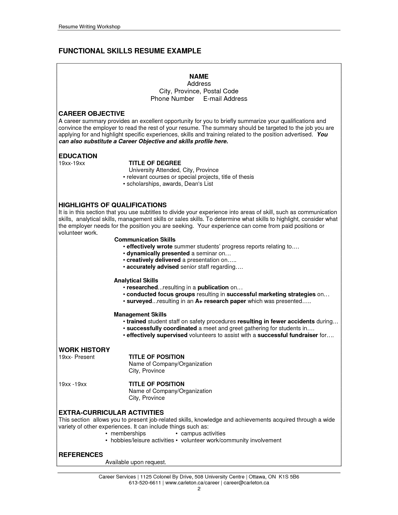sample skills in resume template