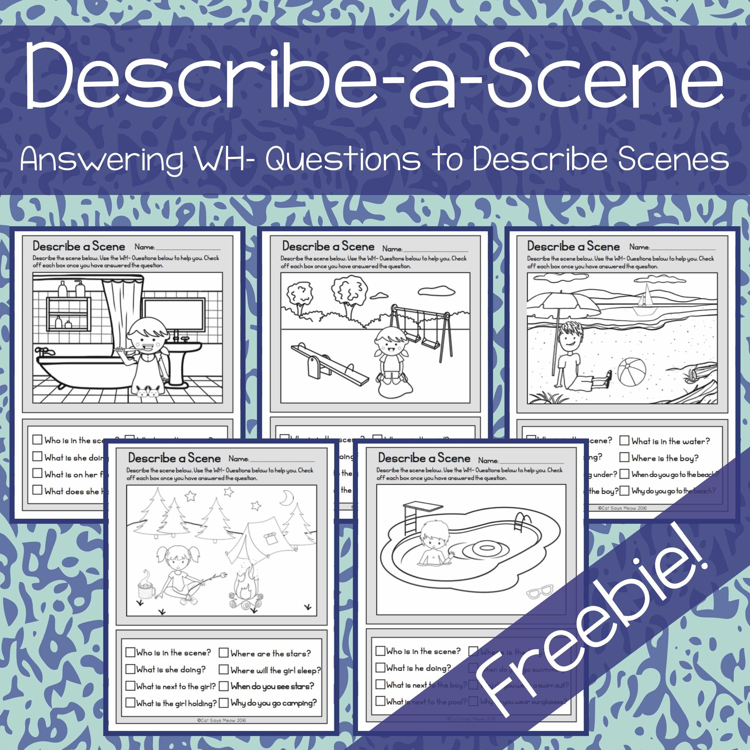 Freebie No Prep Describe A Scene And Answer Wh Questions