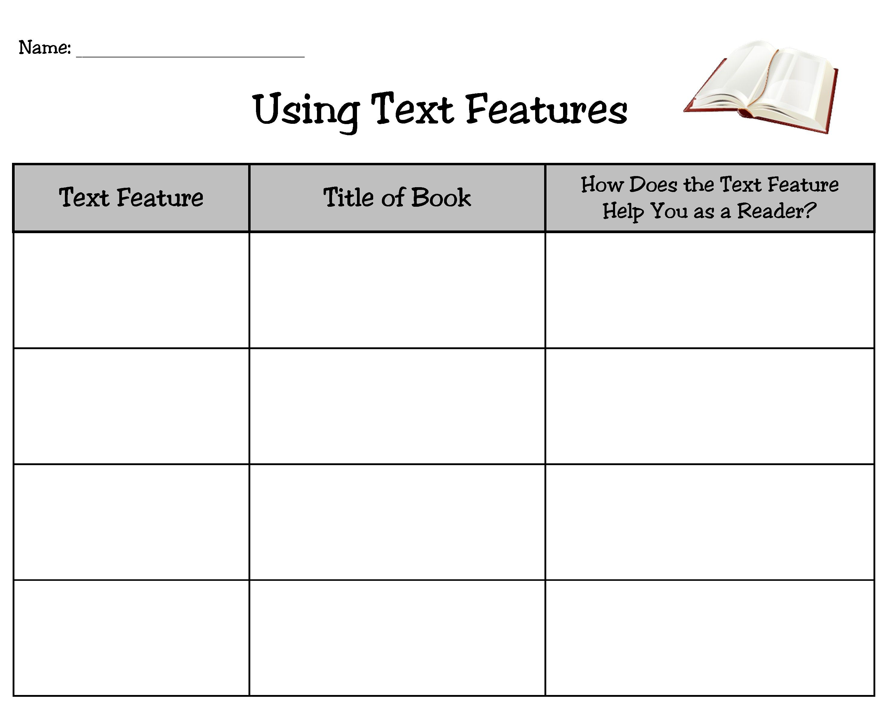 27 Text Features Worksheet 3rd Grade